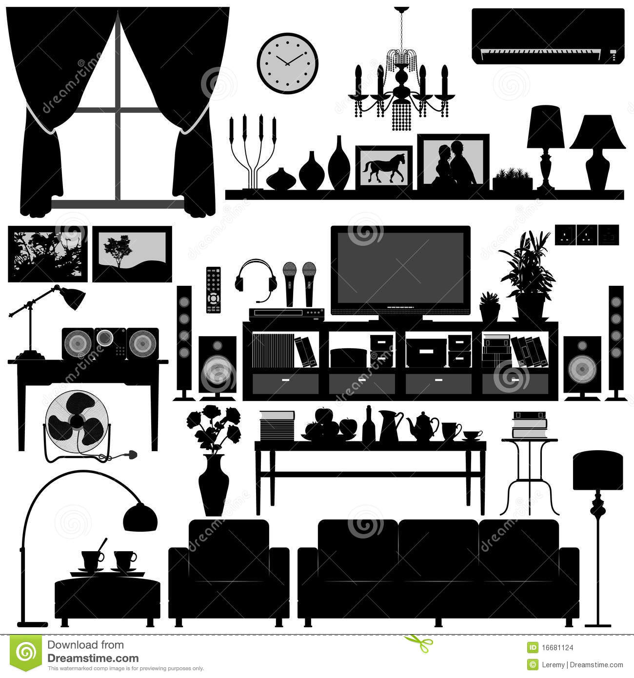 living room furniture home interior design stock vector