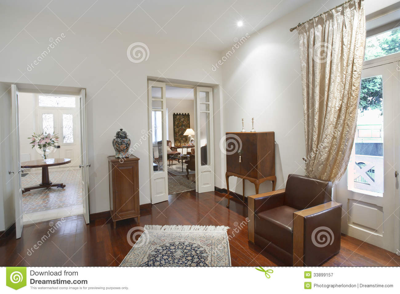 Living Room With Furniture In House Royalty Free Stock