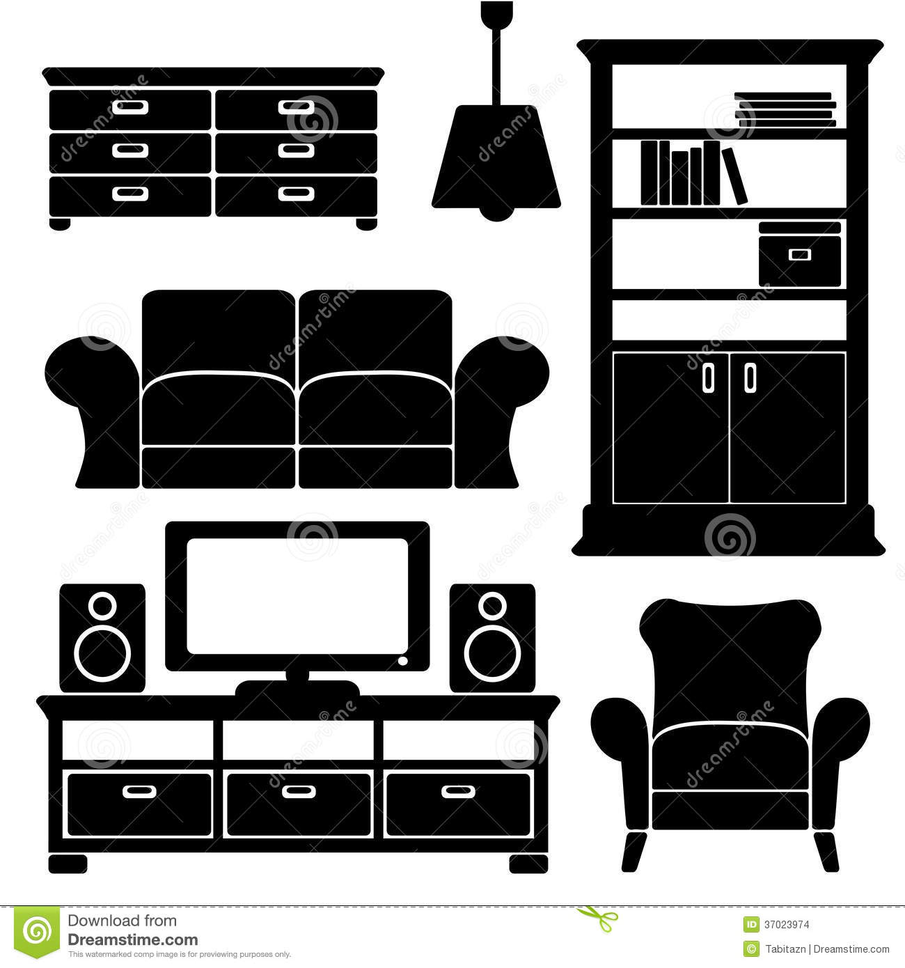 Living Room Furniture Icons Set Black Isolated S Stock