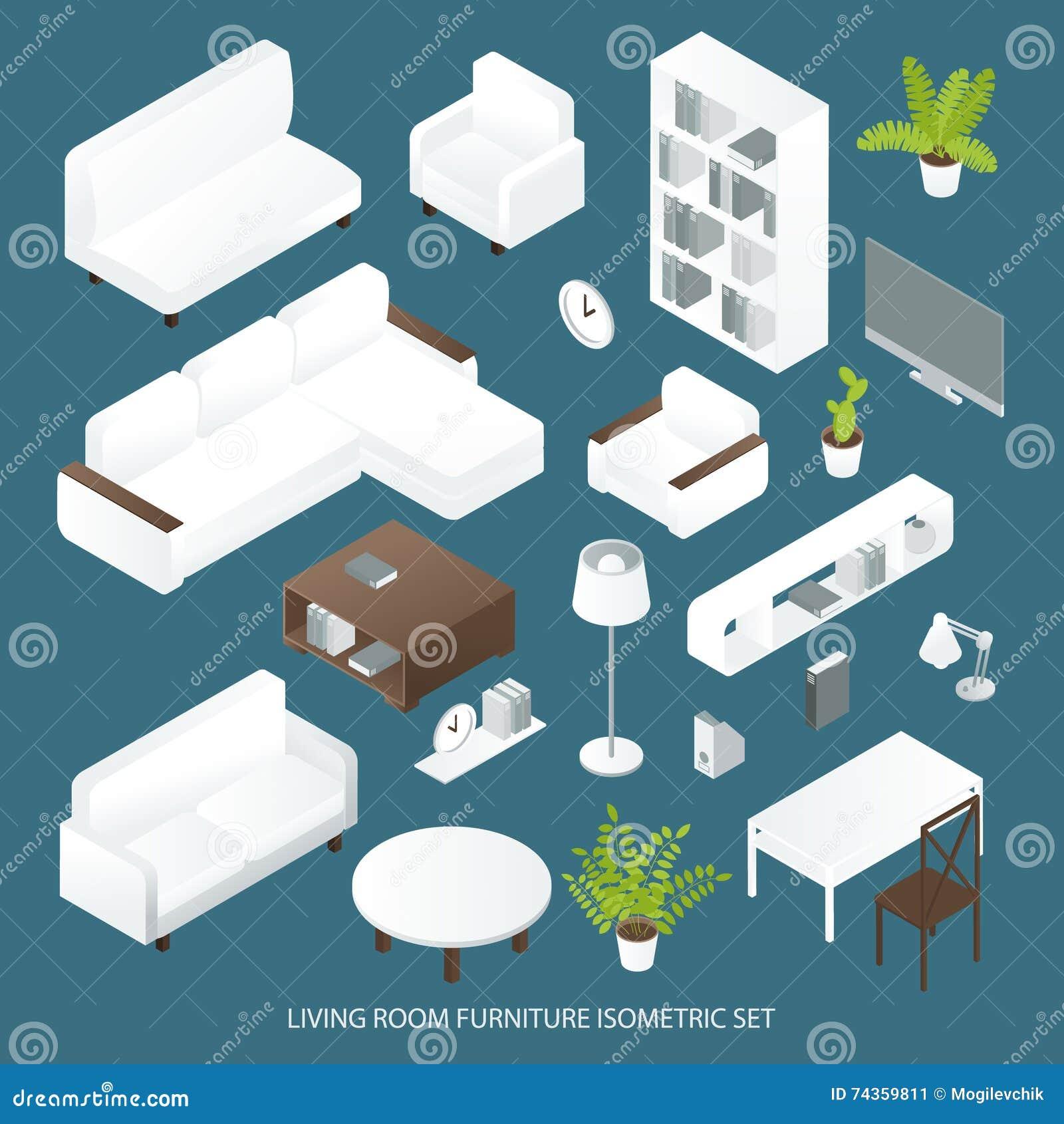 Rc Furniture Interior Design Stock Dealer ~ Isometric furniture collection interior design concept