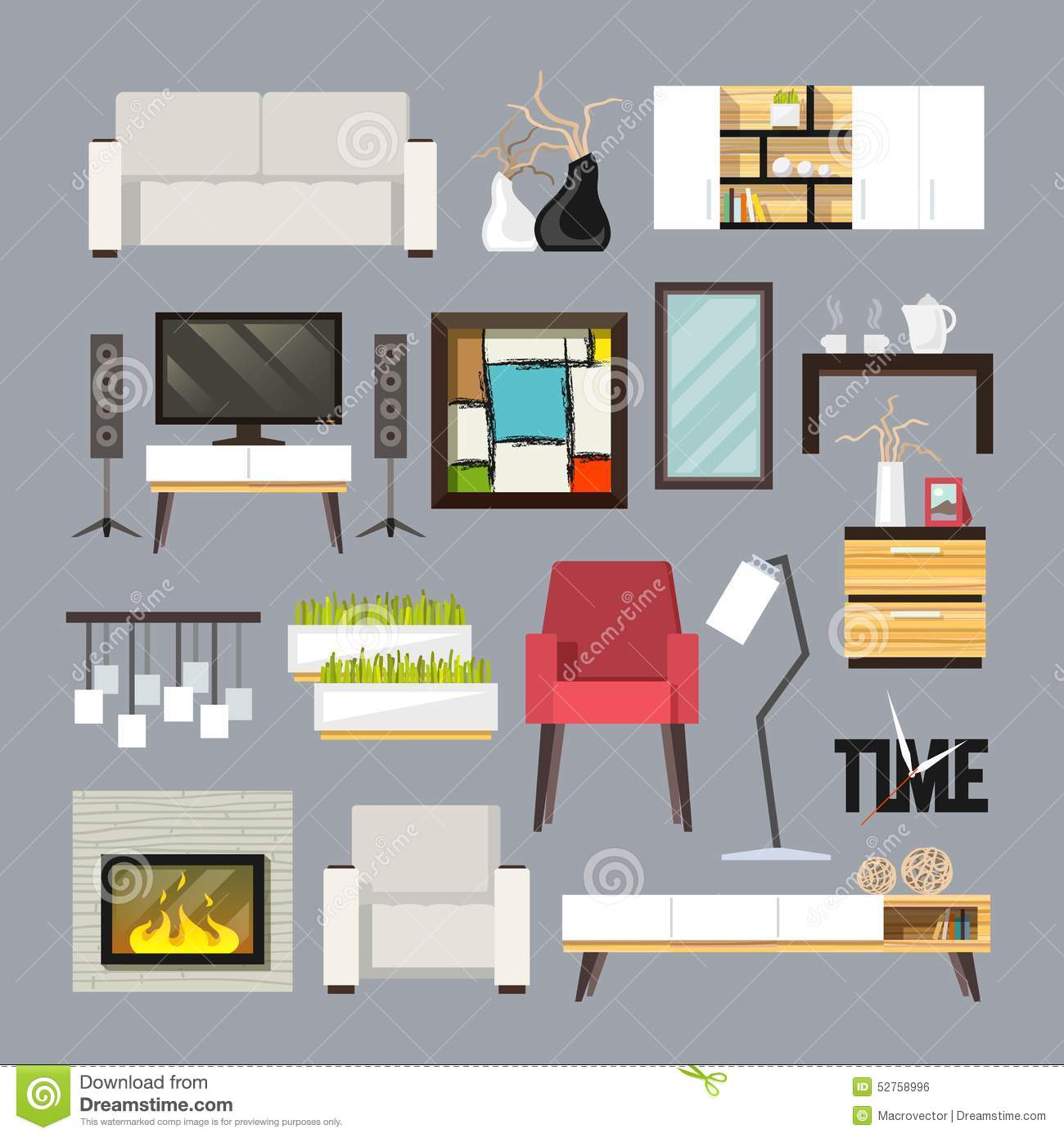 Living room furniture set stock vector illustration of for 15x15 living room