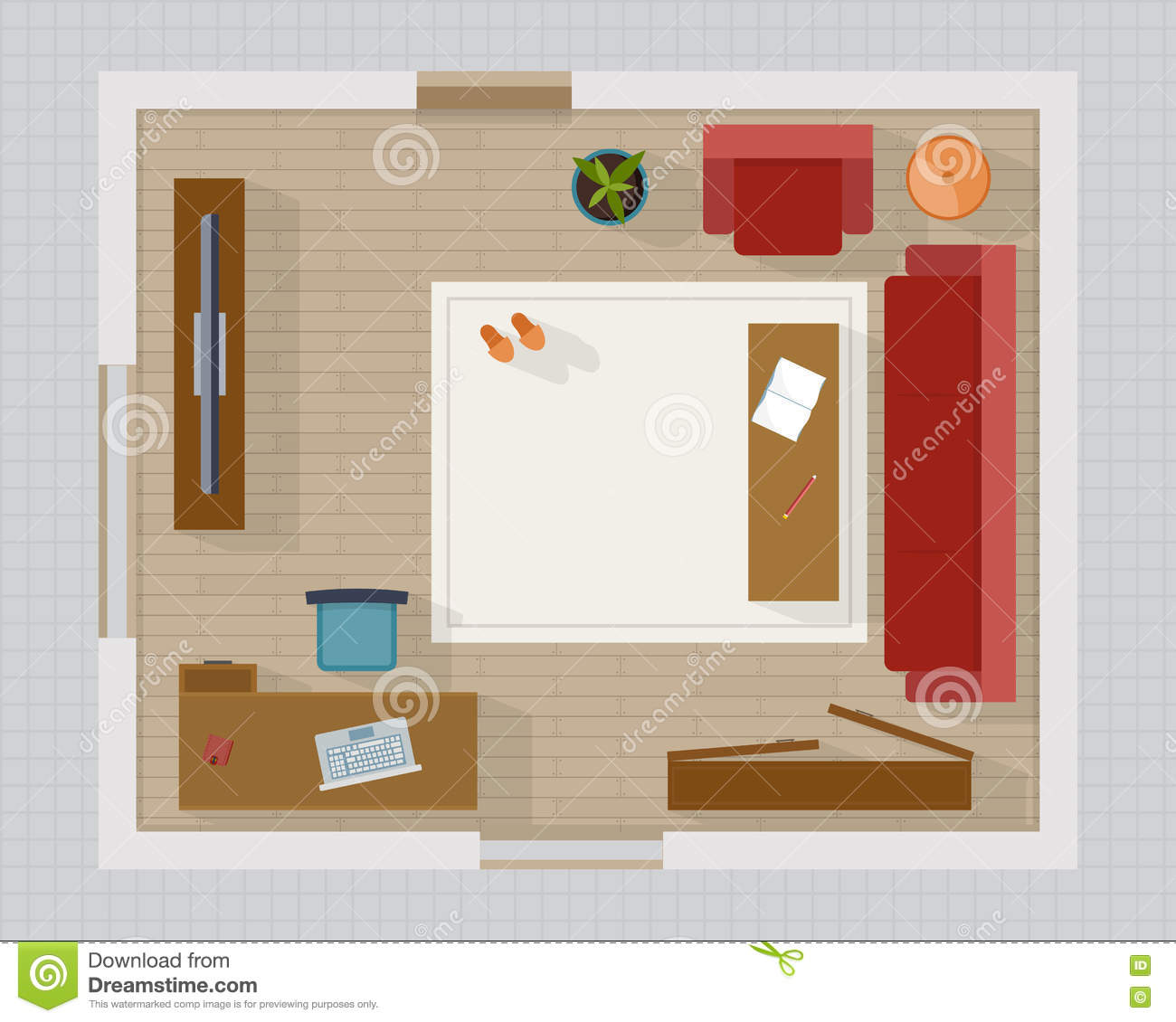 Cozy Living Room Vector Illustration: Living Room With Furniture Top View Stock Vector