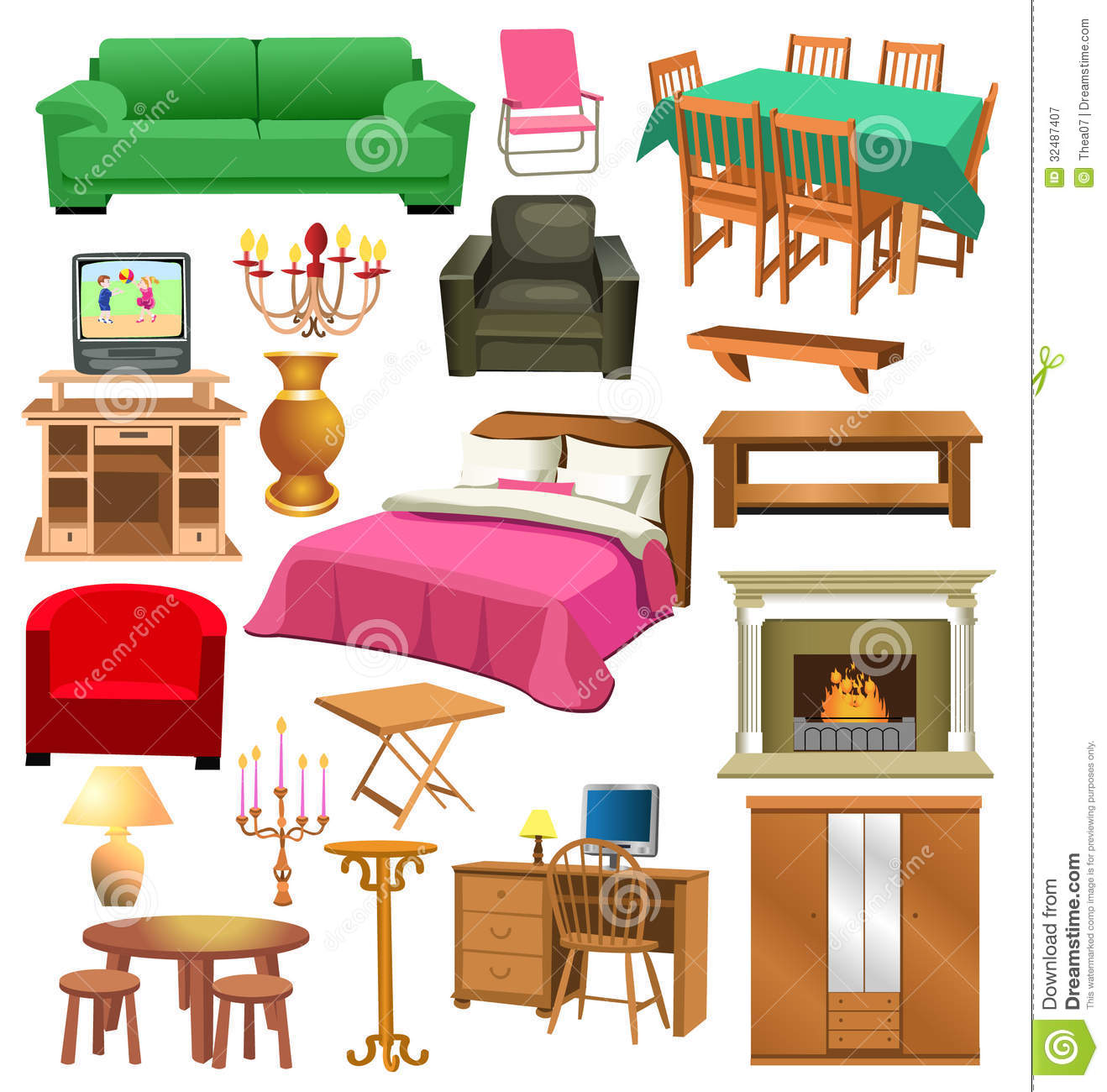 Cartoon Kitchen Furniture: Living Room Furniture Royalty Free Stock Photography
