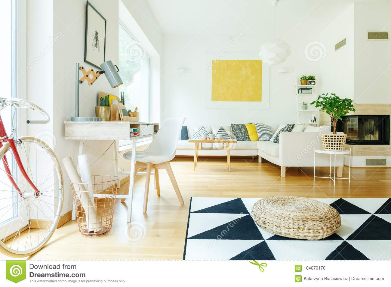 Living Room With Gold Painting Stock Photo - Image of furniture ...