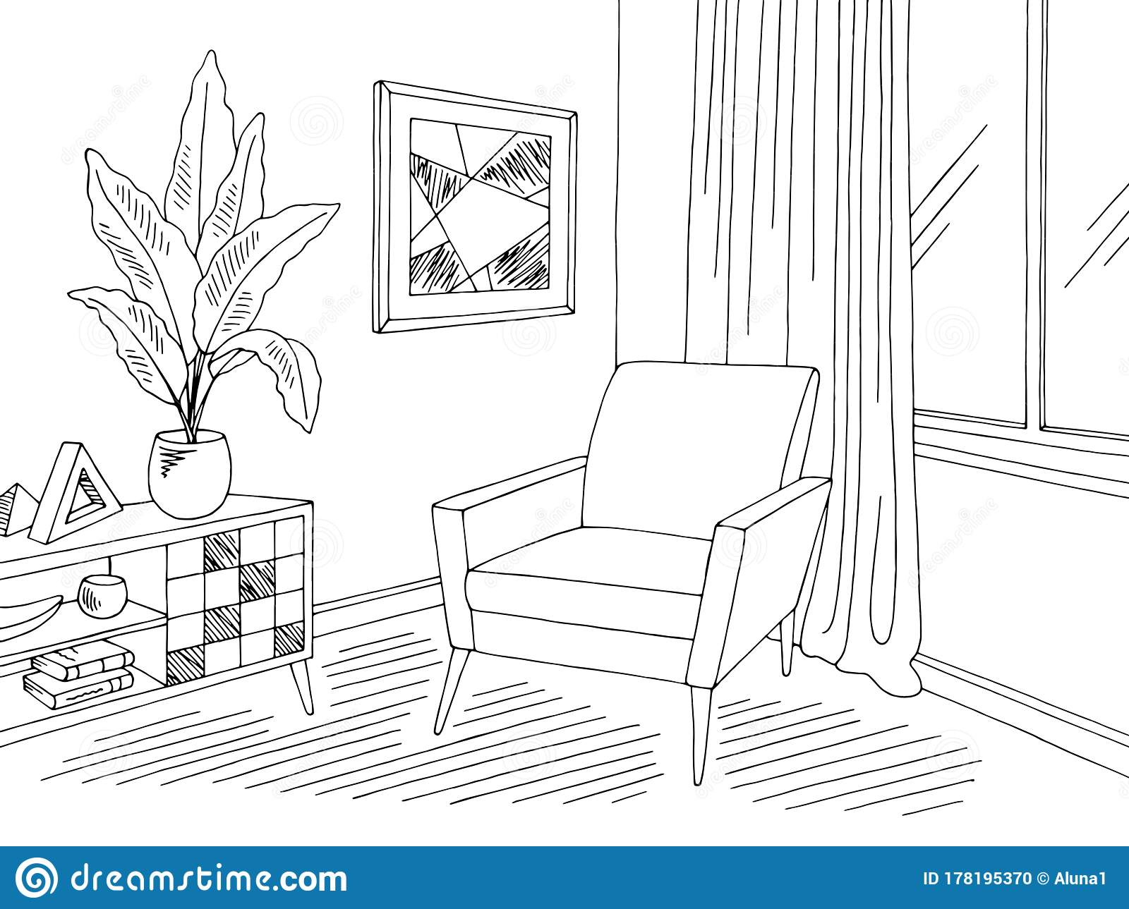 Living Room Graphic Black White Home Interior Sketch Illustration Vector Stock Vector Illustration Of Empty Domestic 178195370