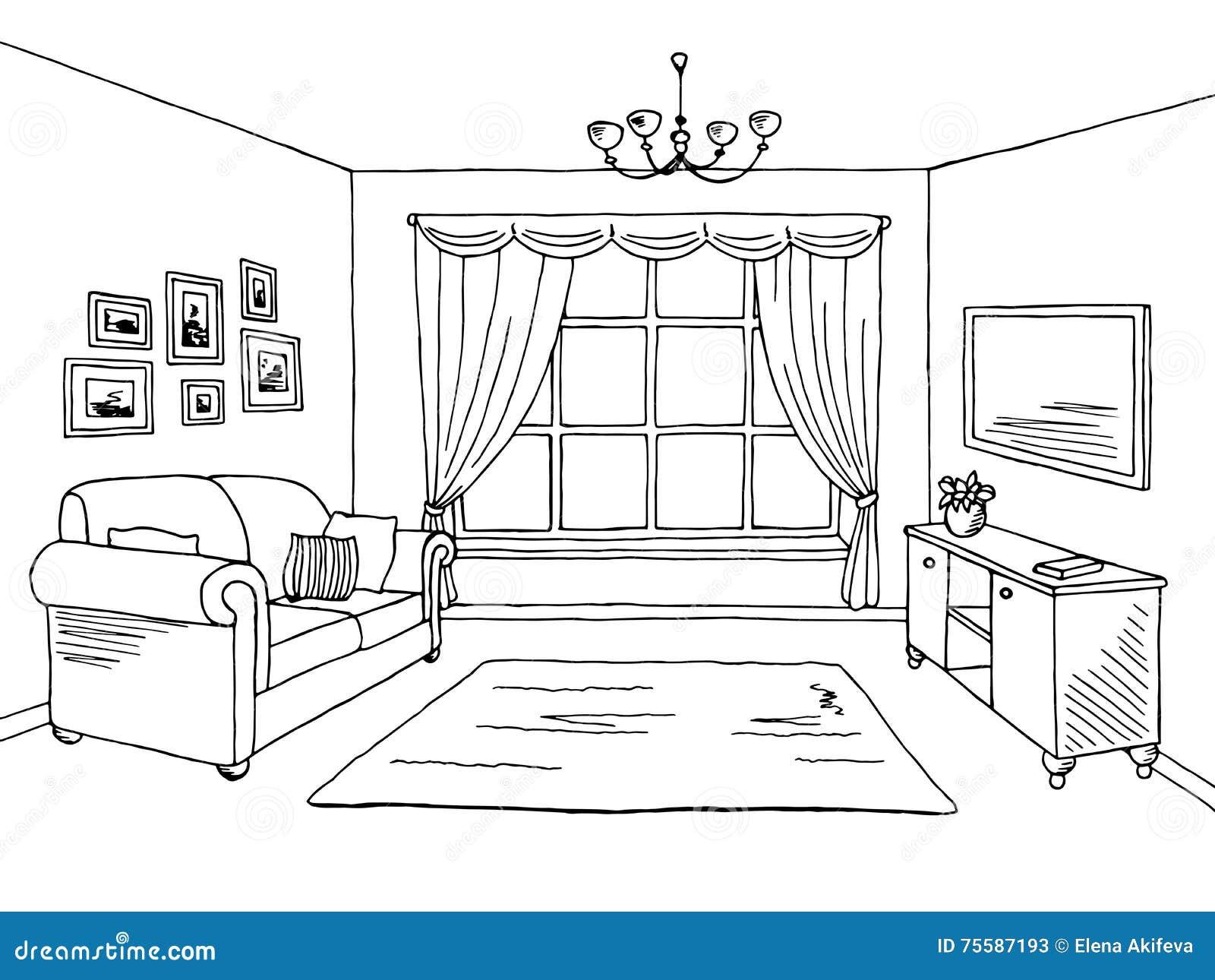 Living Room Sketch Stock Illustrations – 10,10 Living Room Sketch