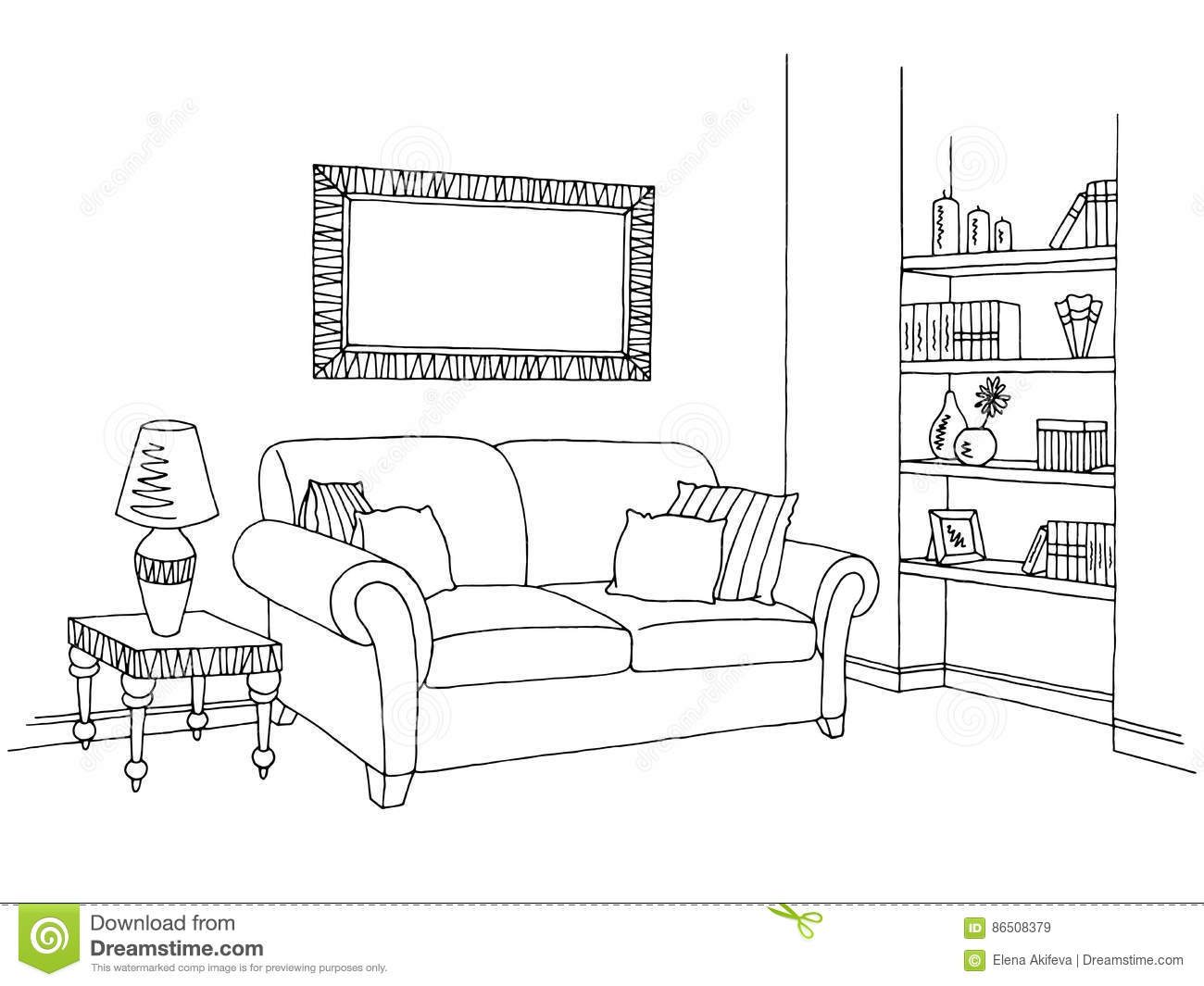 Living room graphic black white interior sketch for Black and white chairs living room