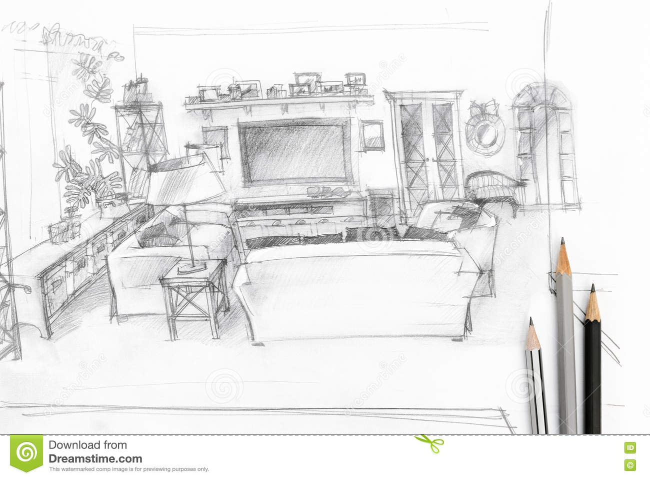 Living room graphical sketch with drawing tools stock for Room drawing tool