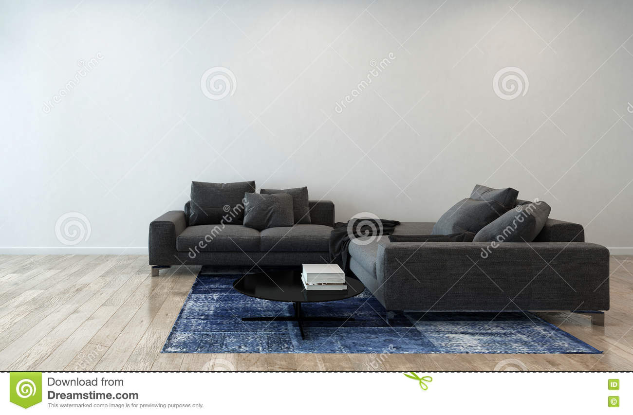 Download Living Room With Gray Sofa In Modern Apartment Stock Image
