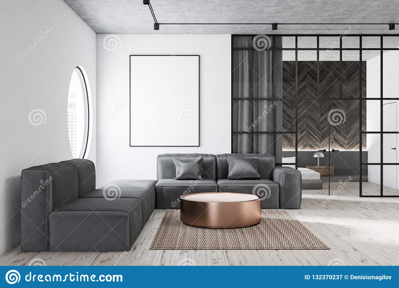 Living Room With Gray Sofa And Poster Stock Illustration