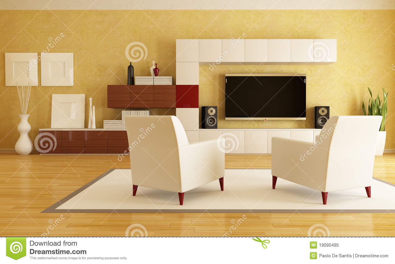 Living room with hd tv stock illustration image of carpet for Living room hd