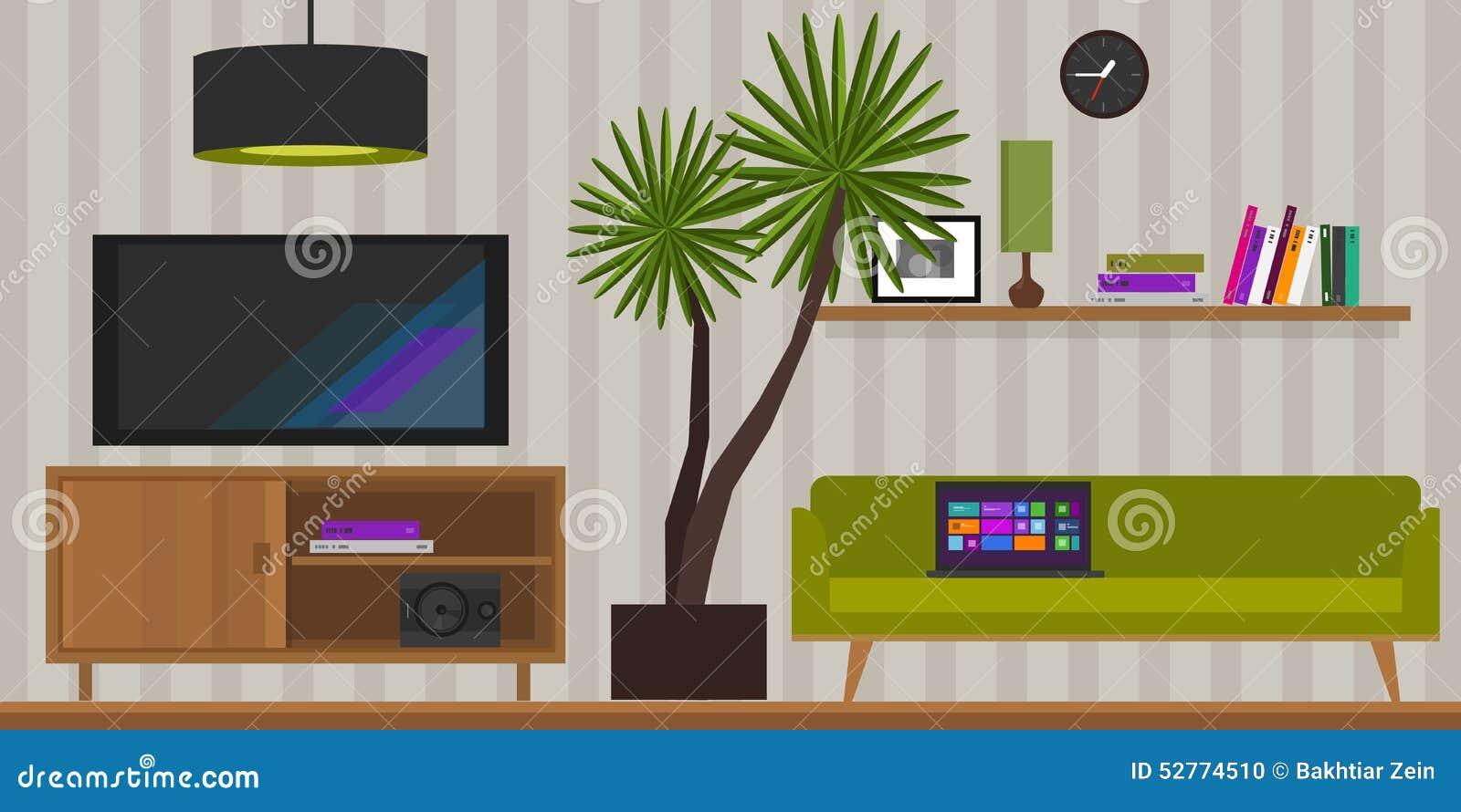 Living Room Home Interior Vector Illustration Stock Vector Illustration Of Elegant Contemporary 52774510