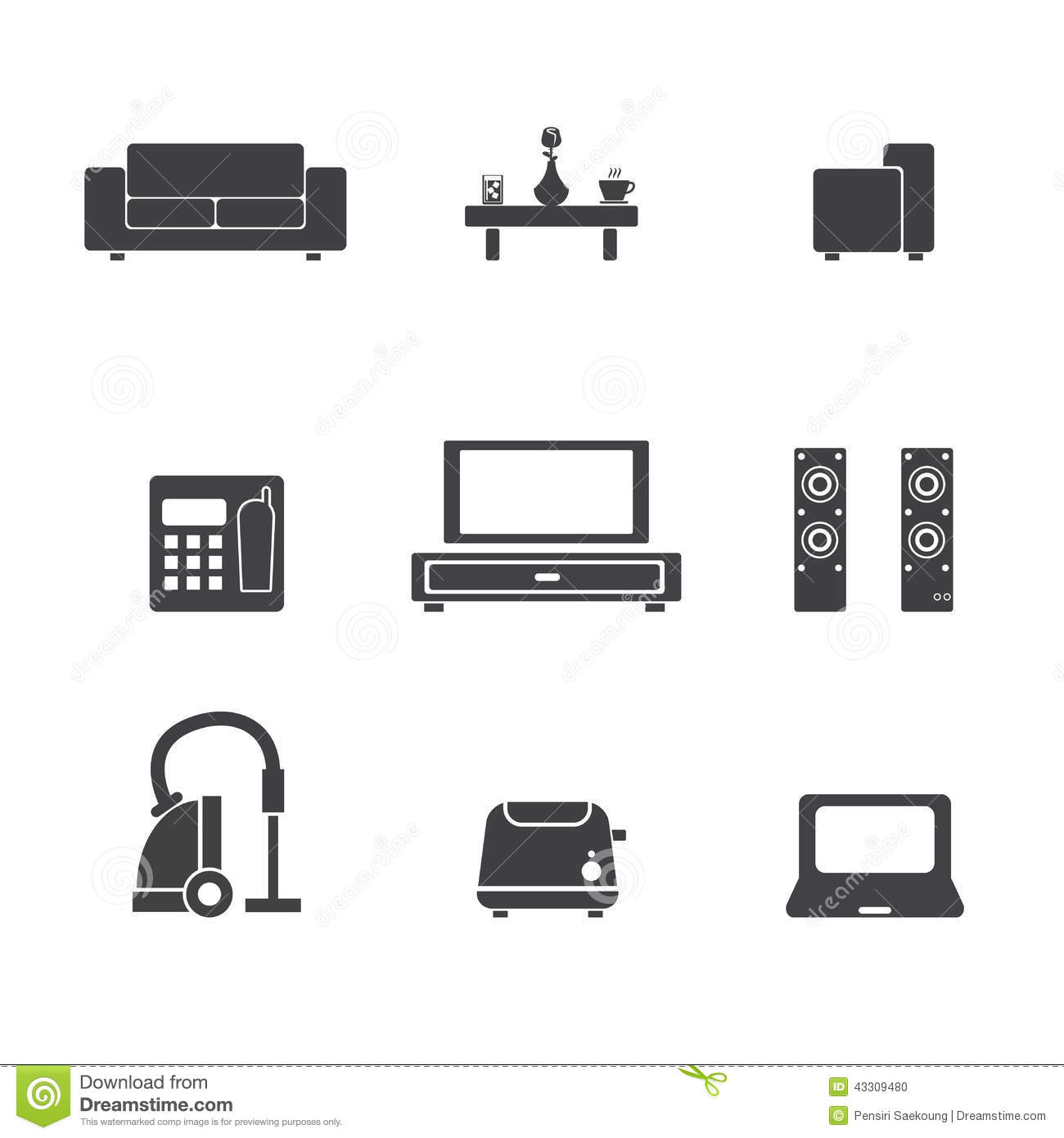 Living room icon stock vector image of decor drawer for The make room website