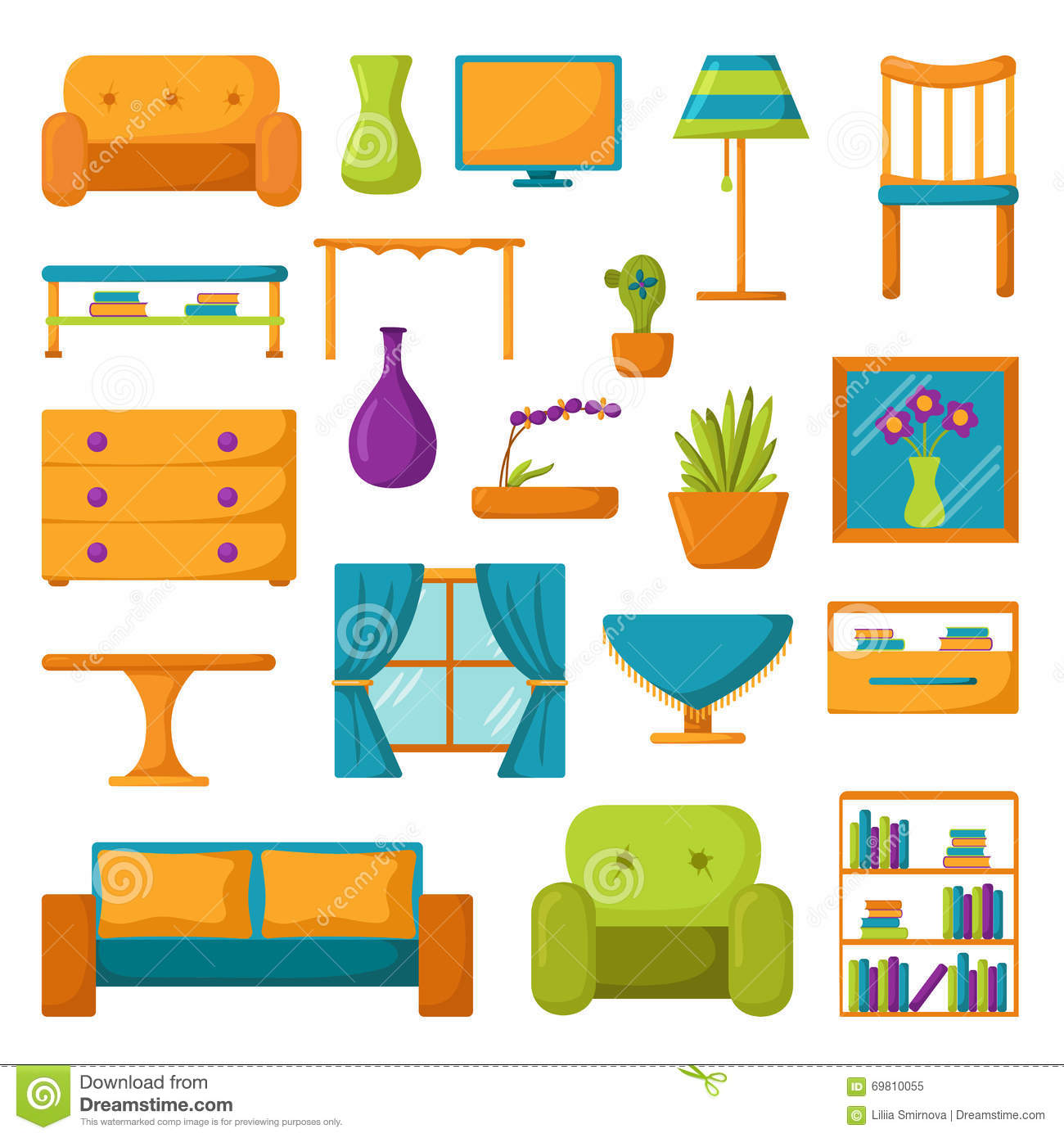 Living room icons interior and house furniture stock for Muebles en ingles