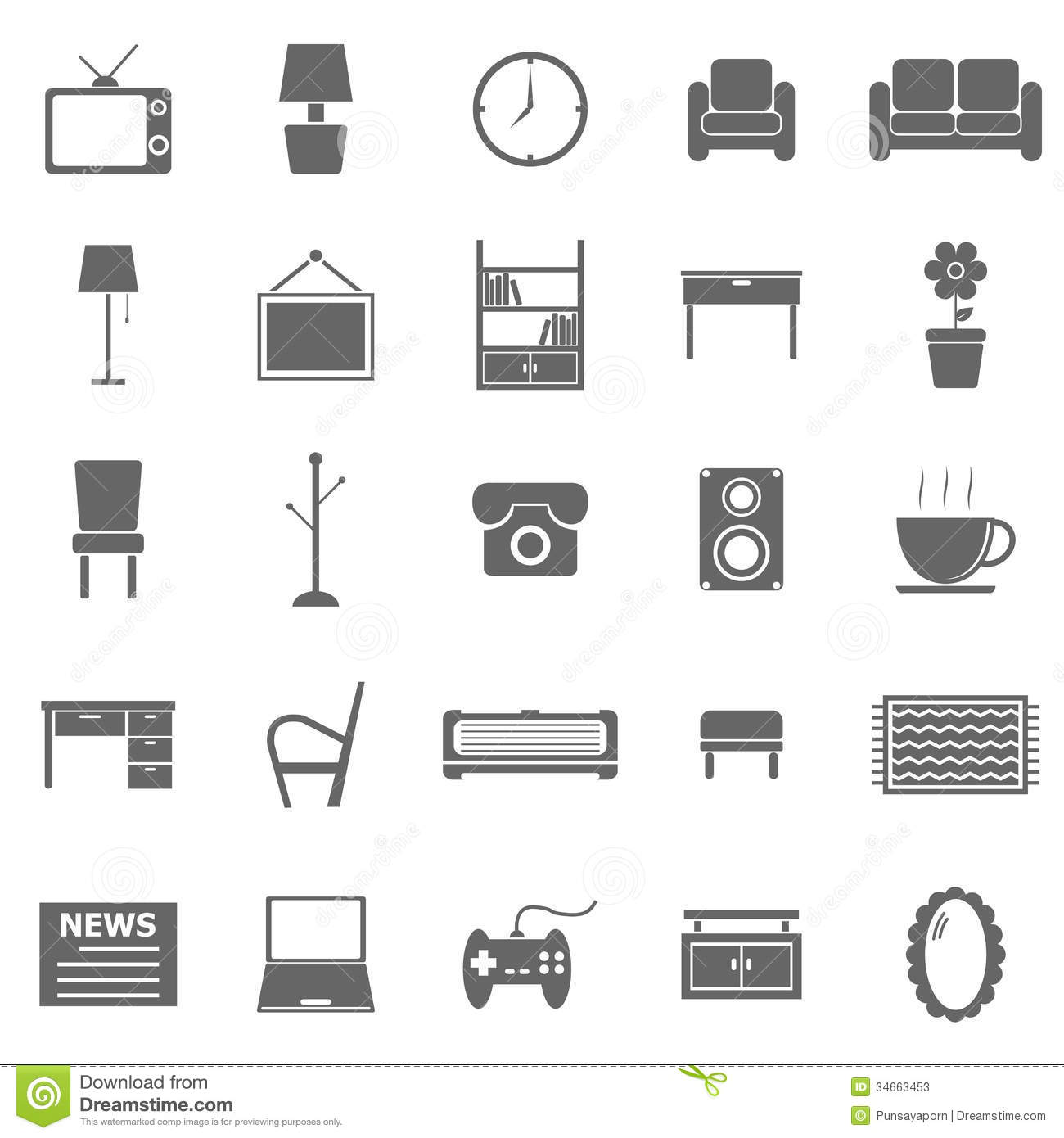 Living Room Icons On White Background Stock Photos Image