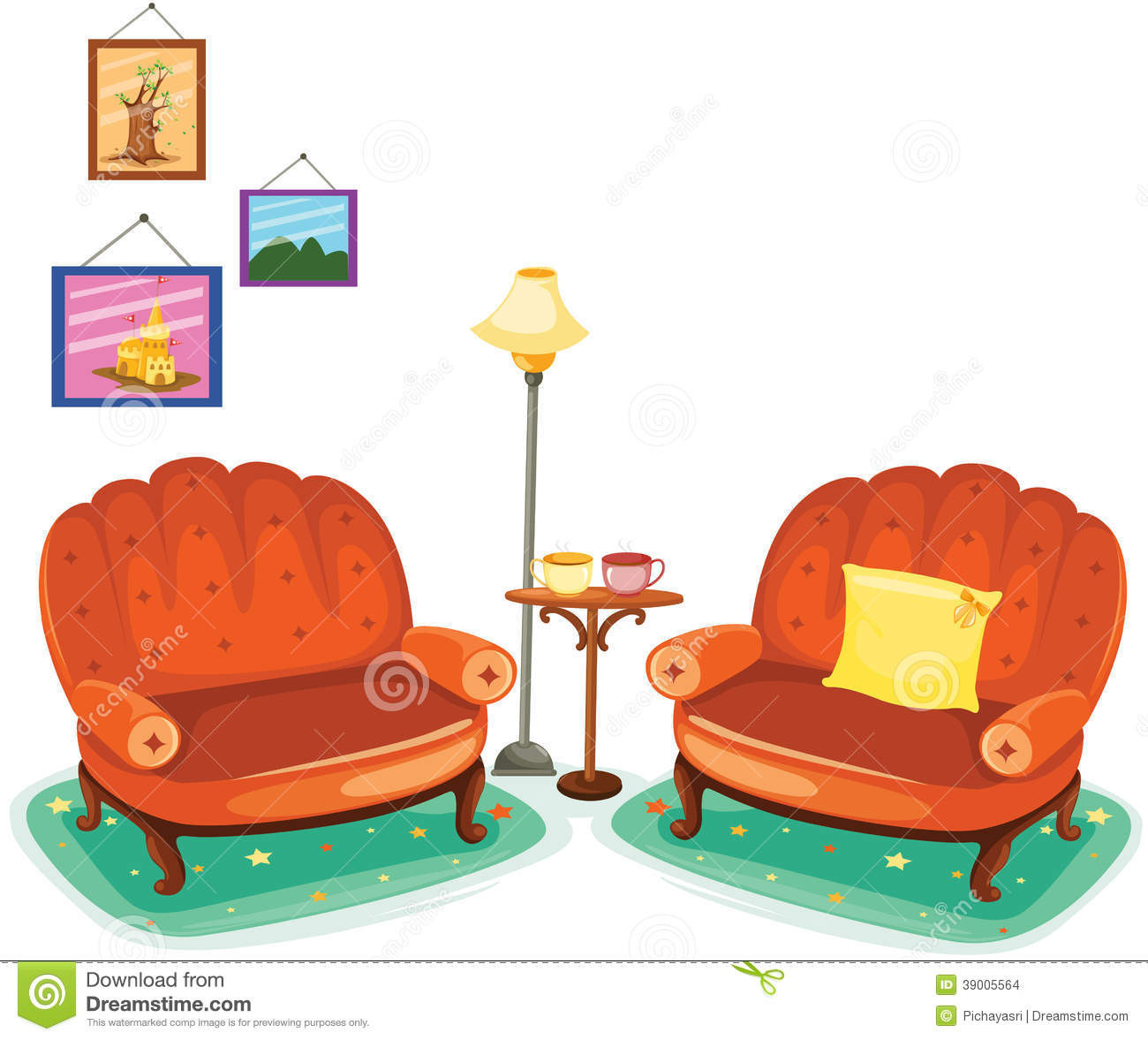 Couch Living Room Clip Art
