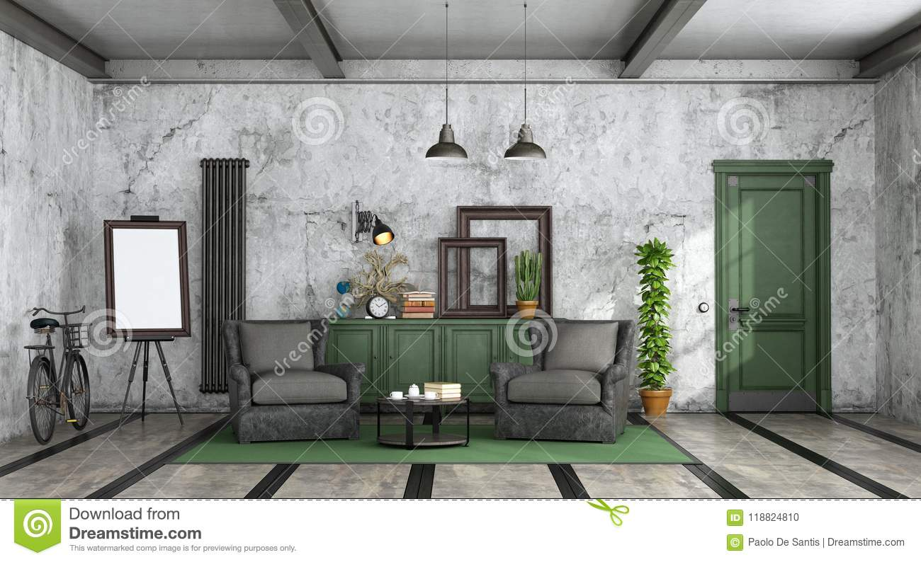 Living Room In Industrial Style