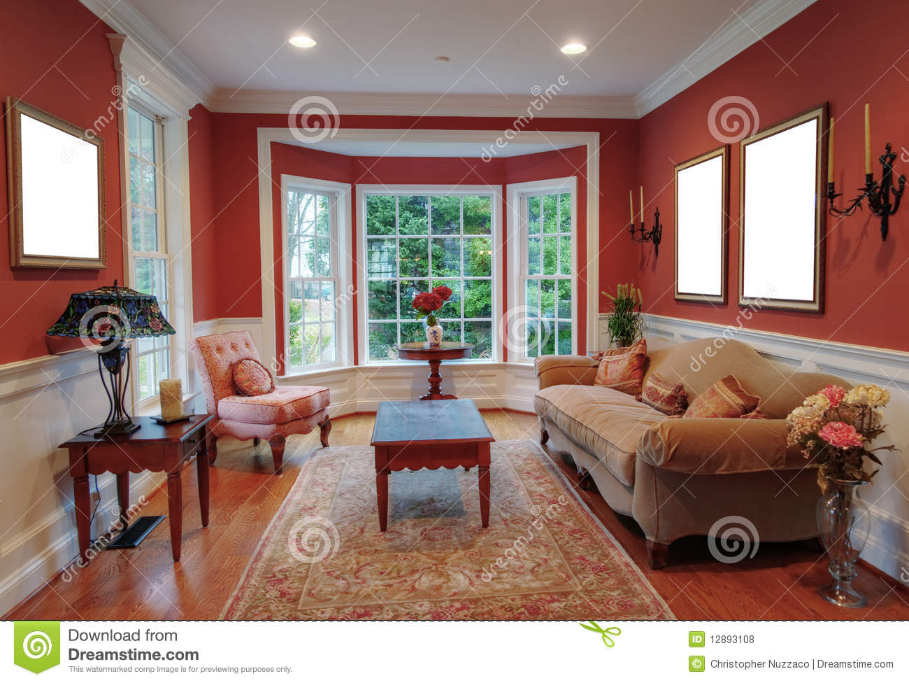 living room interior with bay window royalty free stock