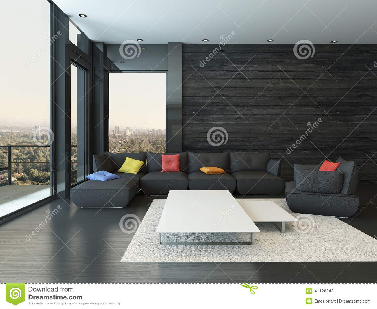 Surprising Living Room Interior With Black Couch With Colored Pillows Machost Co Dining Chair Design Ideas Machostcouk