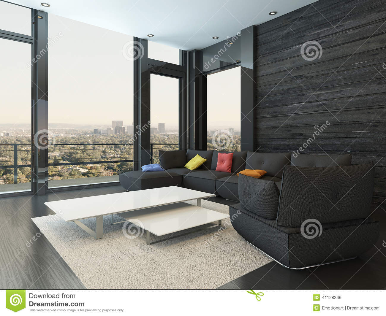 Fantastic Living Room Interior With Black Couch With Colored Pillows Machost Co Dining Chair Design Ideas Machostcouk
