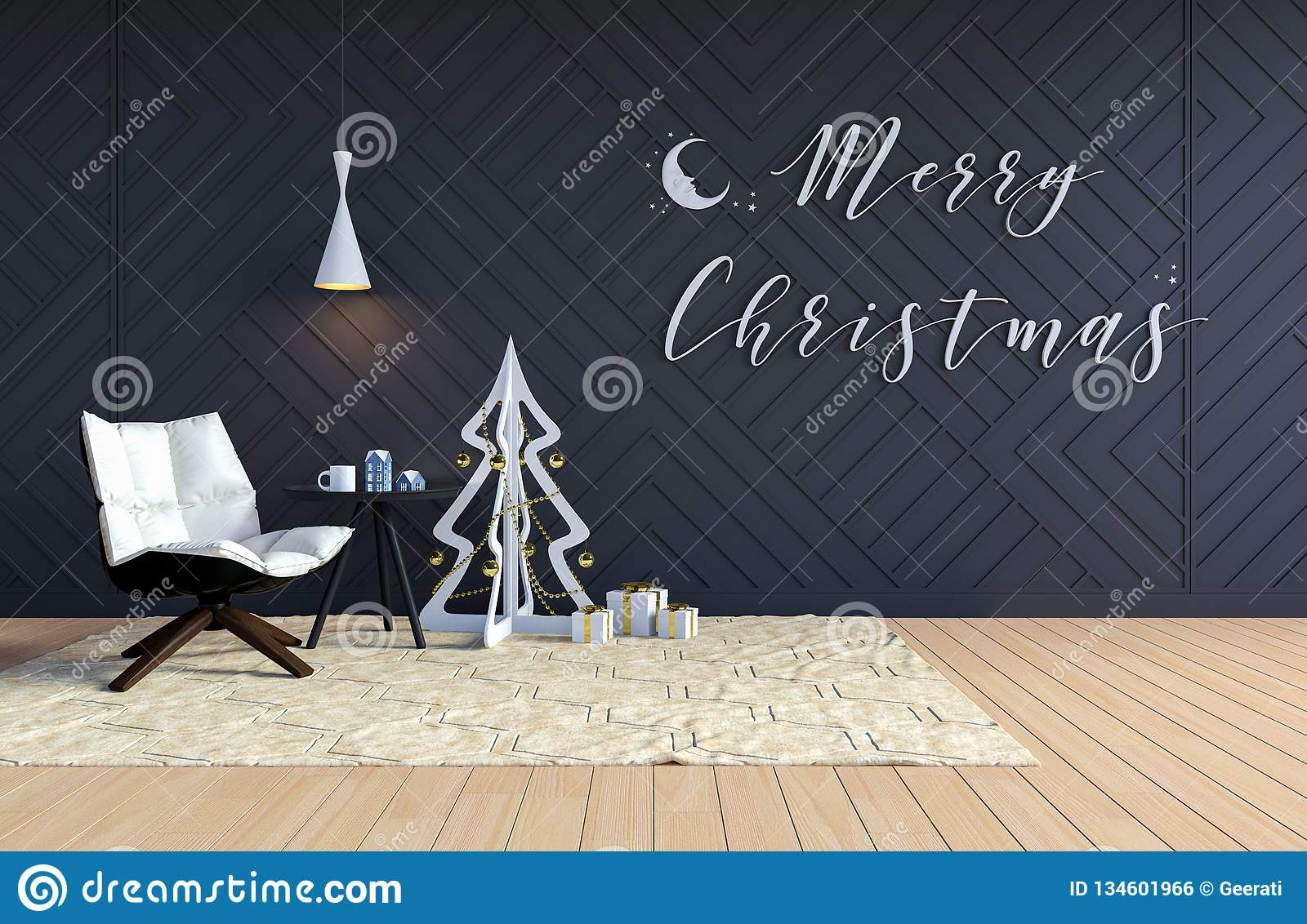 Living Room Interior With Black Wall And White Christmas ...