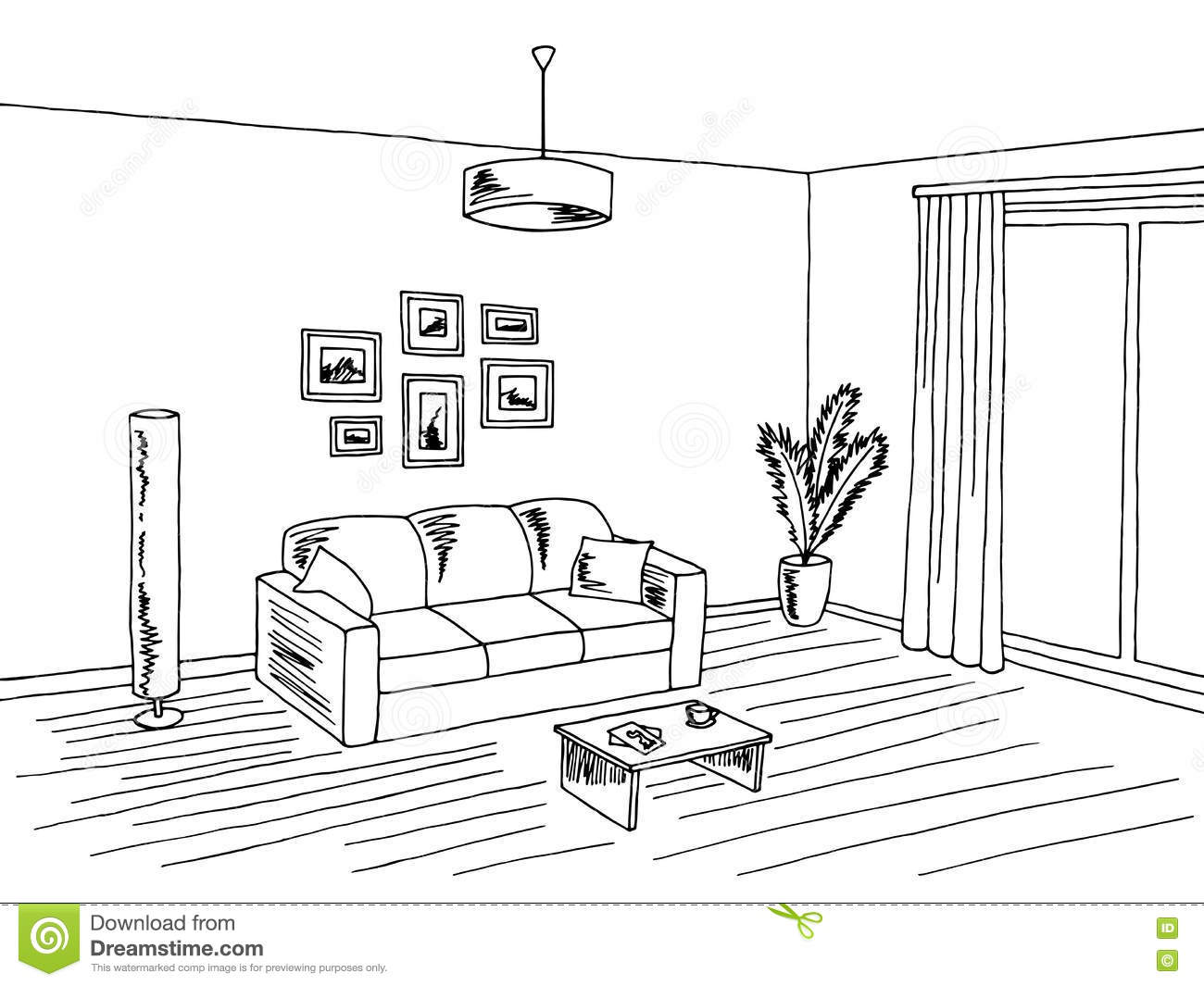 Living Room Interior Black White Graphic Art Sketch
