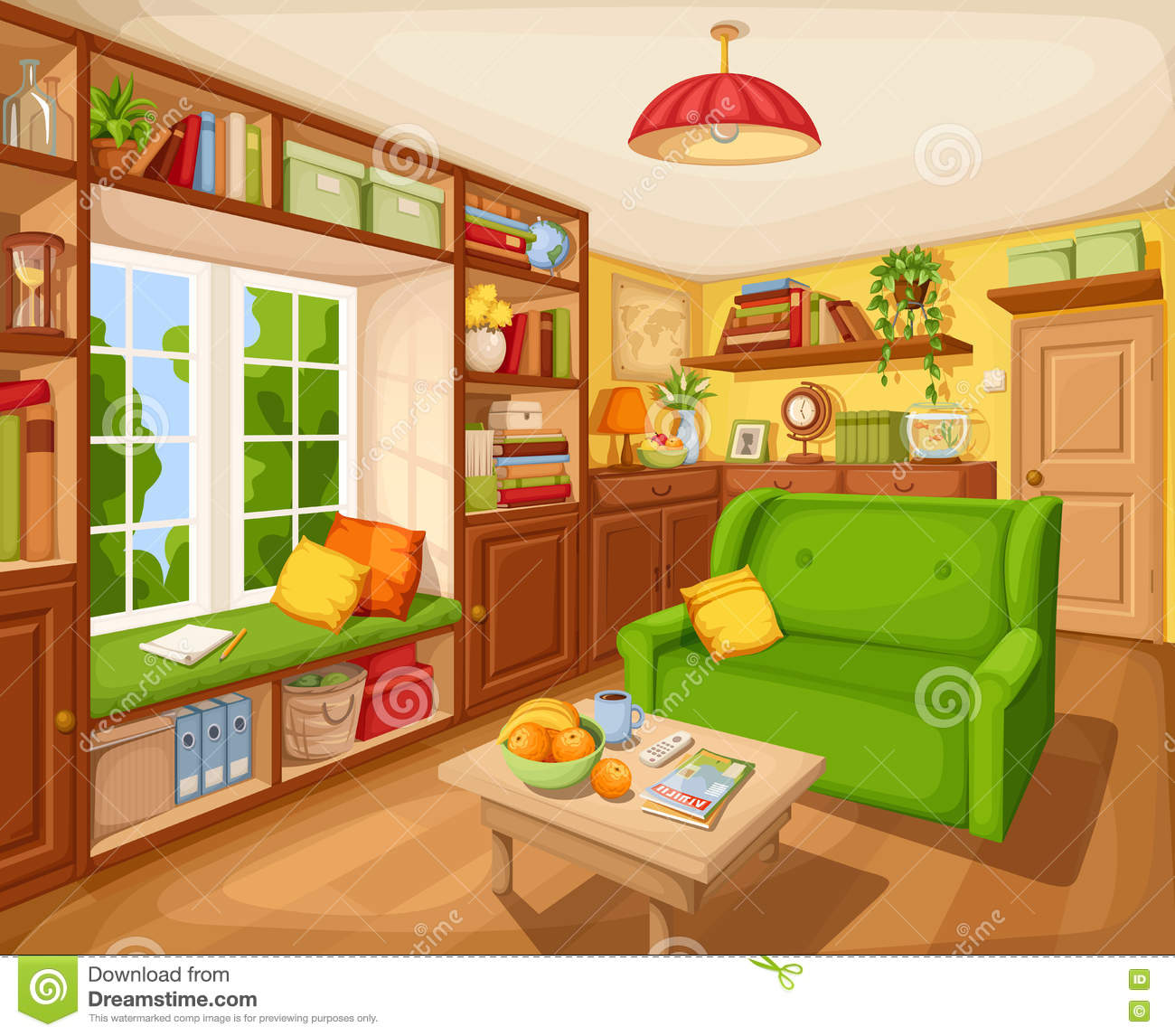 Living room interior with bookcase sofa and table vector living room interior with bookcase sofa and table vector illustration geotapseo Gallery