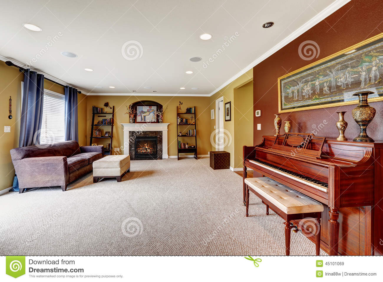 Living Room Interior With Burgundy Color Wall Stock Image - Image of ...