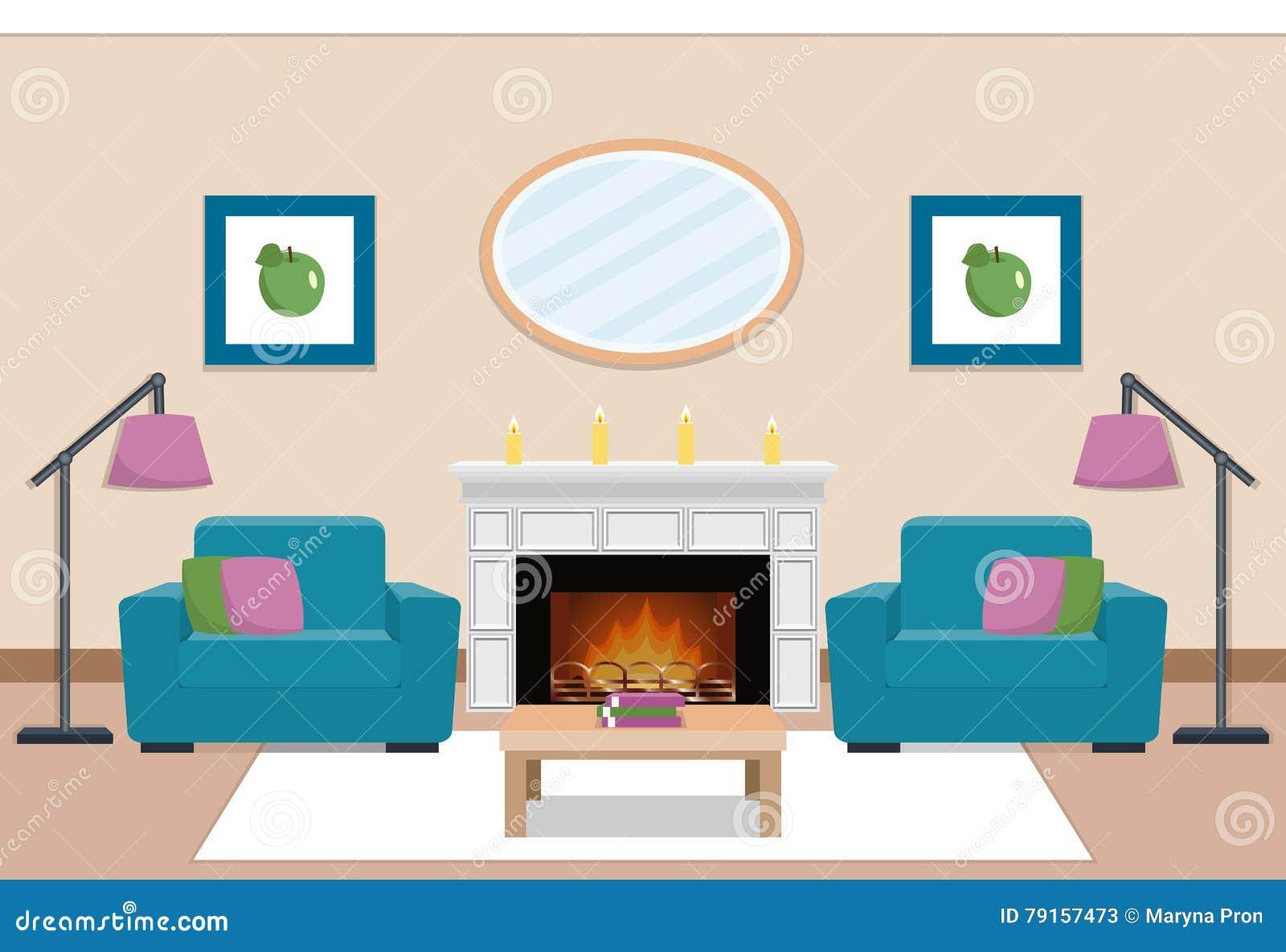 Living Room Interior With Chimney. Vector Illustration. Stock Vector ...