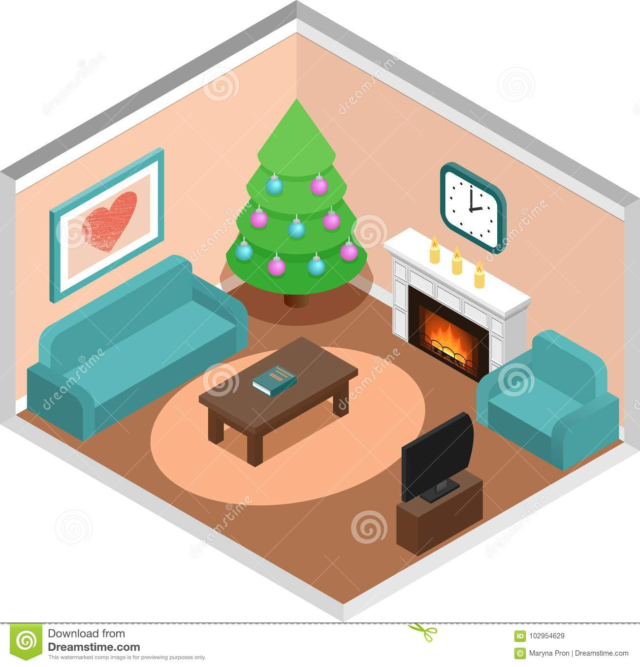Christmas Room Stock Vector Image Of Illuminated: Living Room Interior With Christmas Tree In Isometric