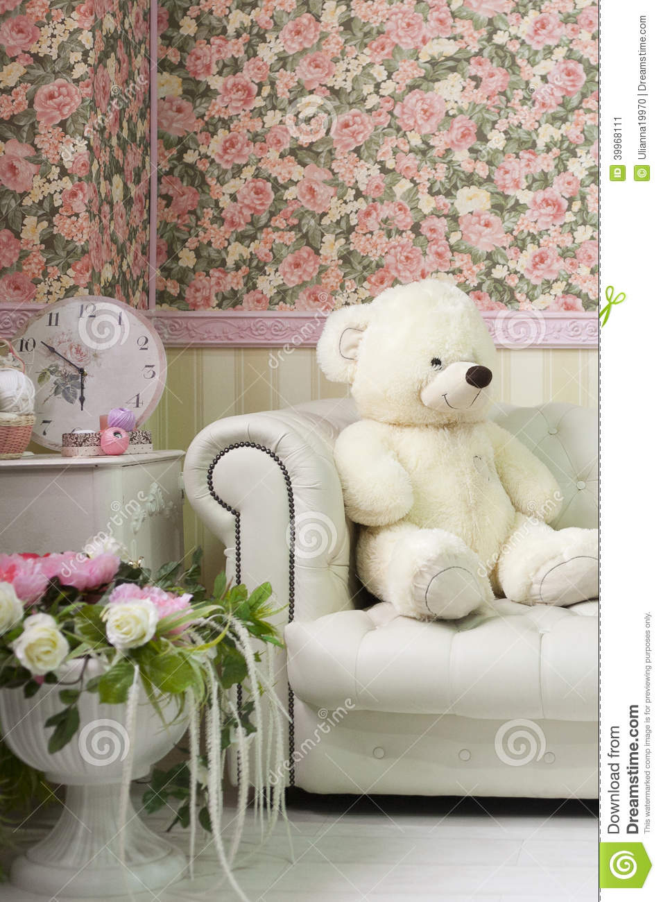 Living Room Interior Corner With Teddy Bear Wall Paper