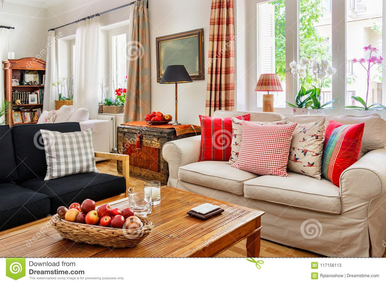 Living Room Interior Country English Style Stock Image Image Of Fireplace Living 117156113