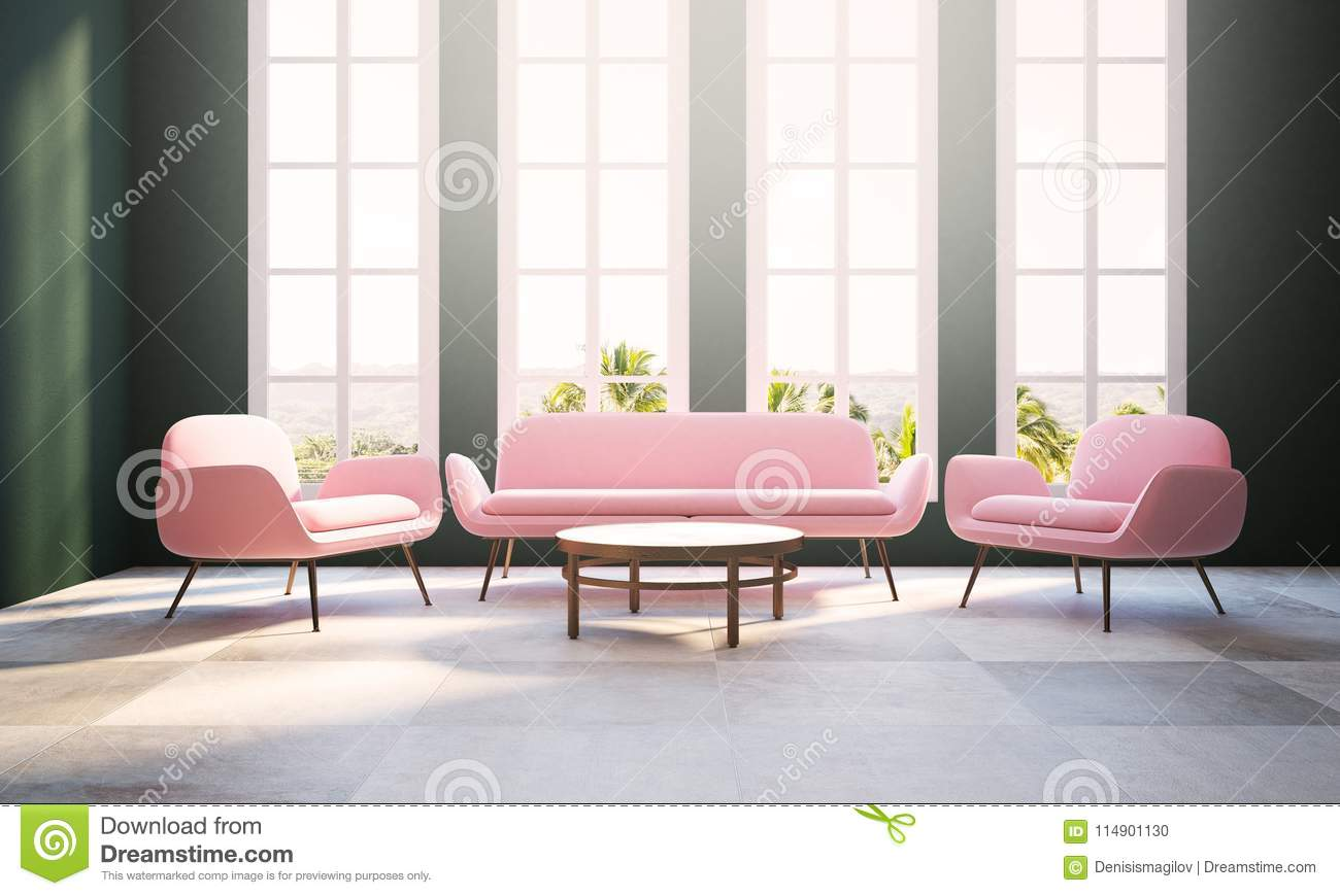 Green Living Room, Pink Armchair And Sofa, Window Stock Illustration ...