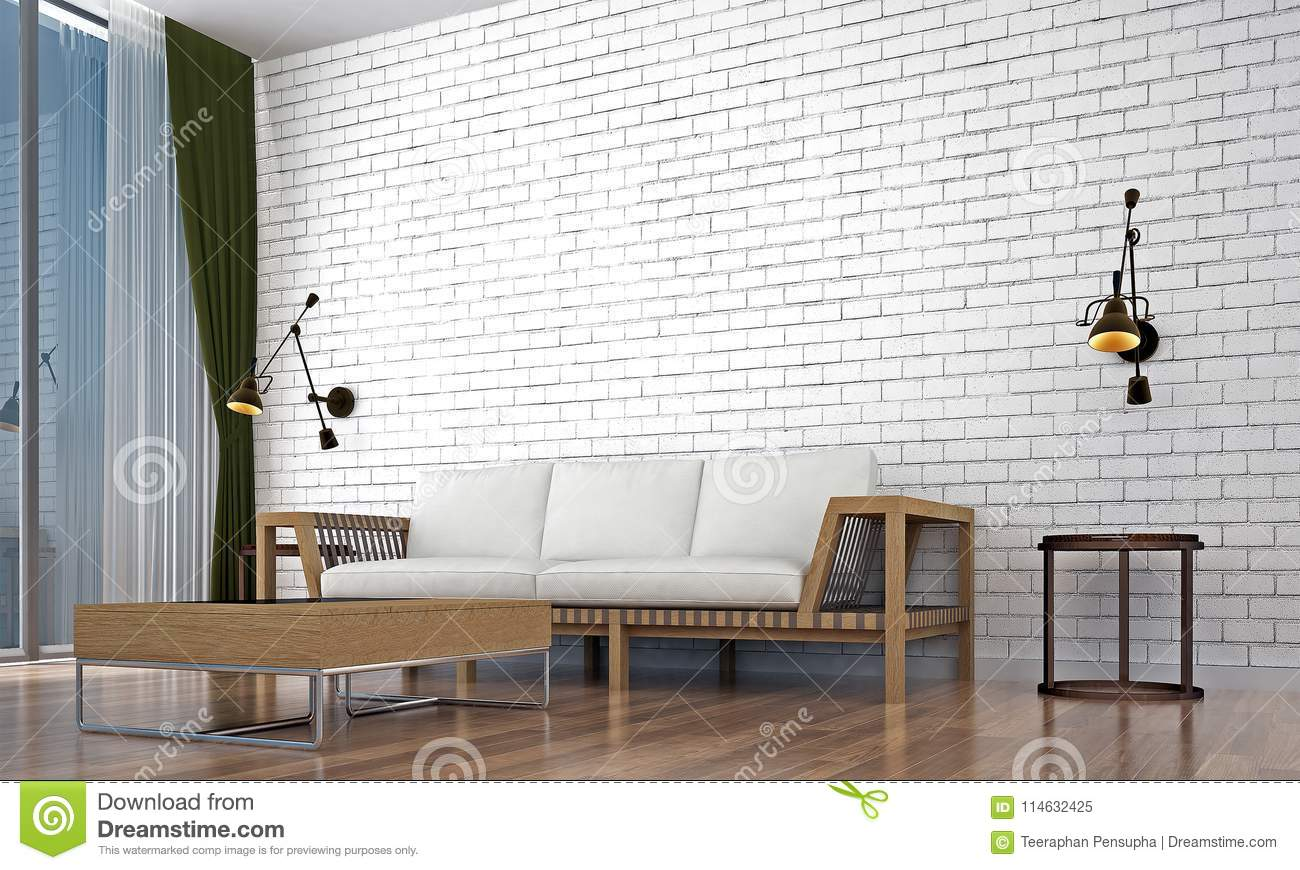 The Living Room Interior Design And White Brick Wall Texture ...