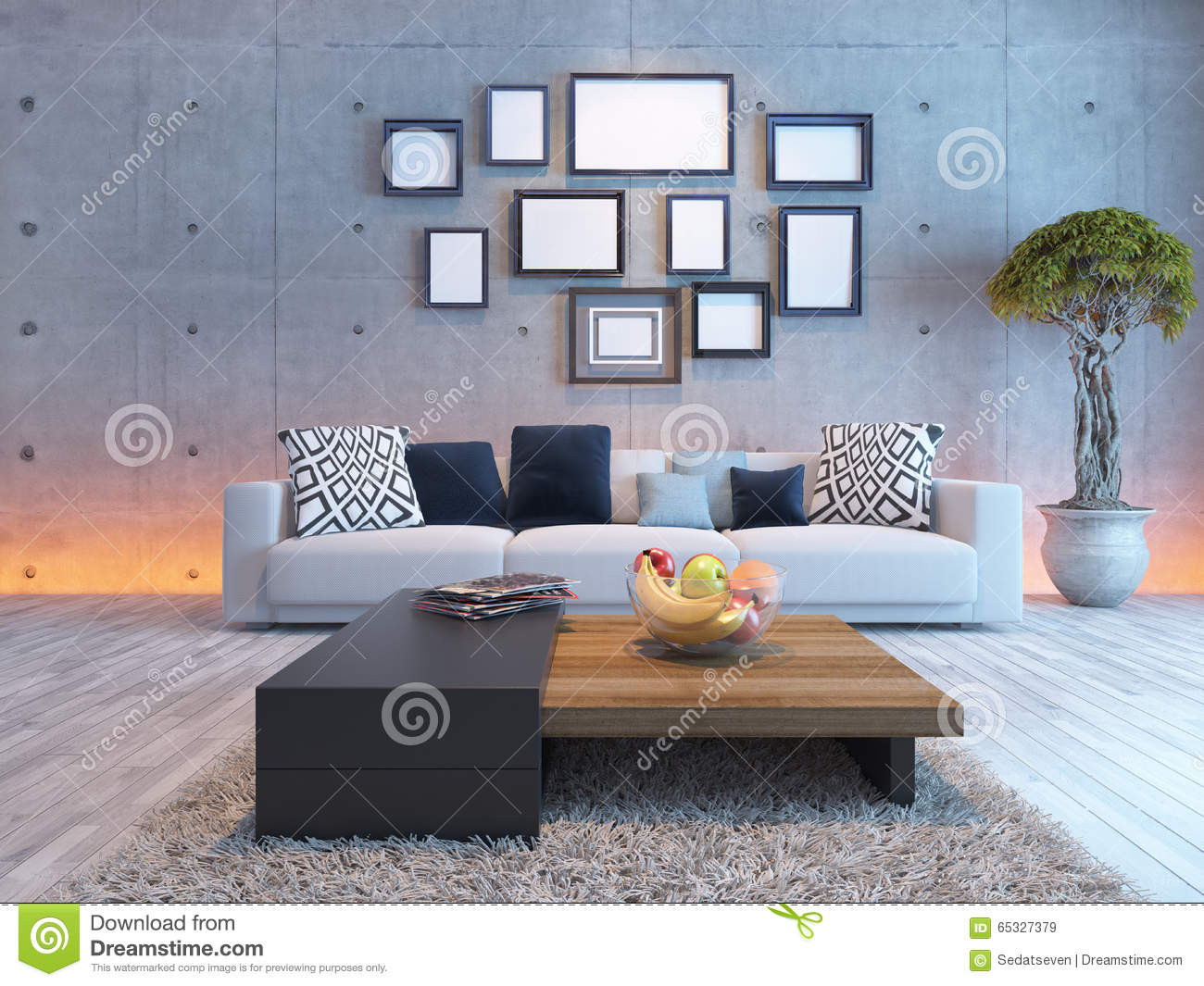living room interior design with concrete wall and picture frame