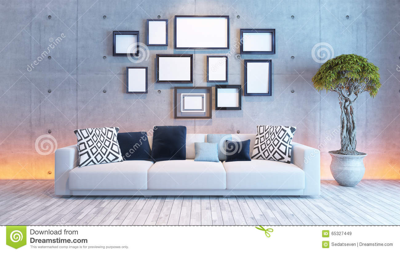 living room interior design with concrete wall and picture frame stock illustration
