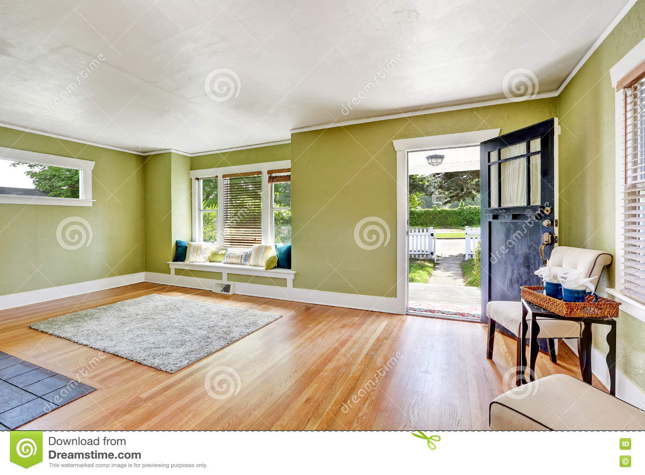 living room interior design of craftsman house stock photo - image