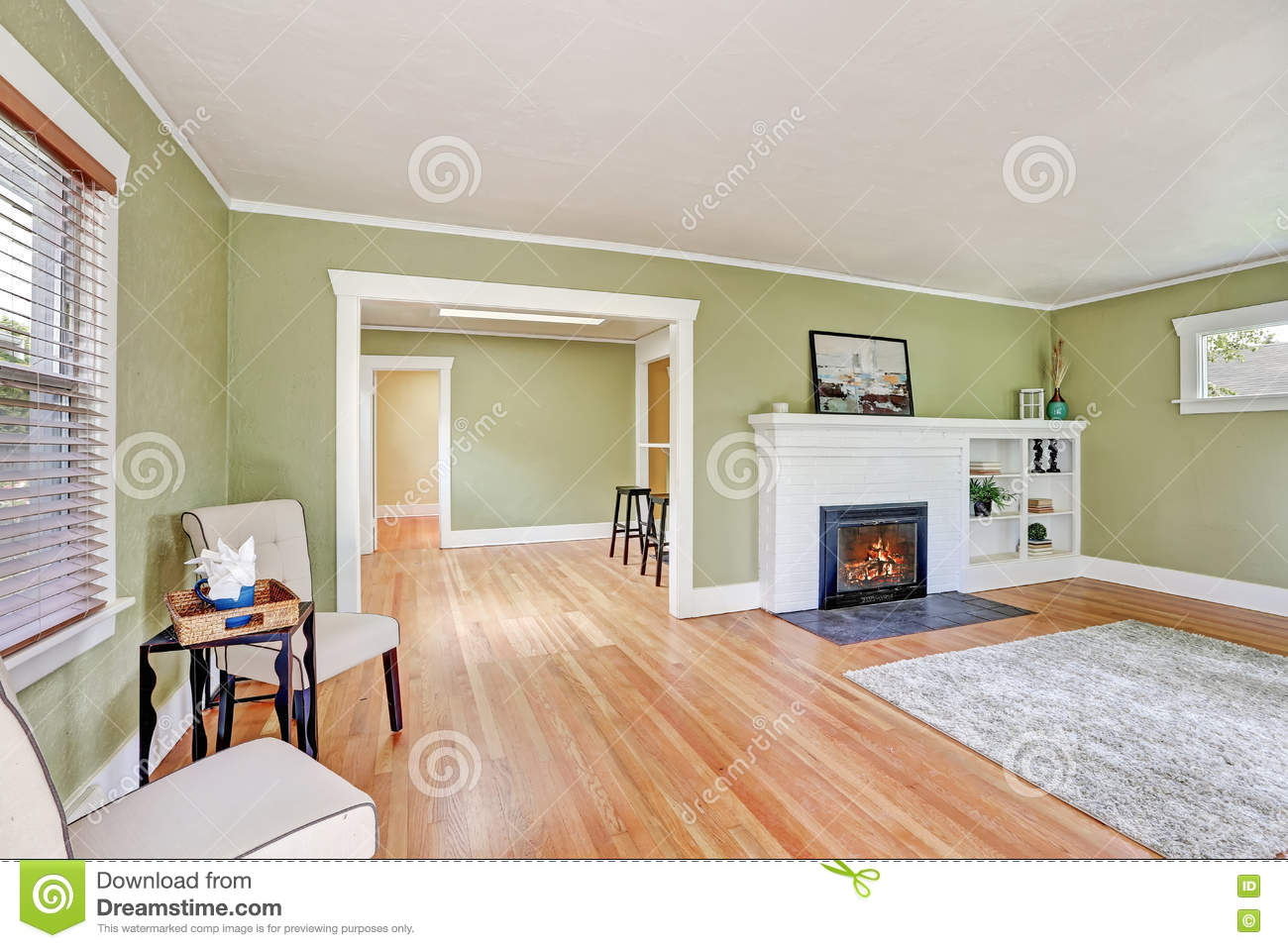 Living Room Interior Design Of Craftsman House Royalty Free Stock Photos