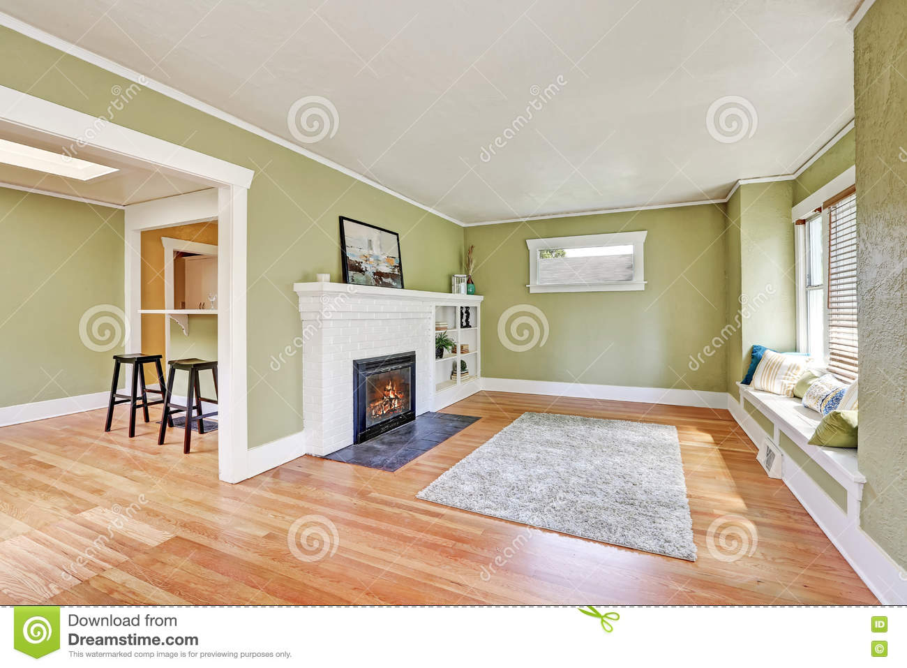 Living room interior design of craftsman house stock photo for Image of interior design