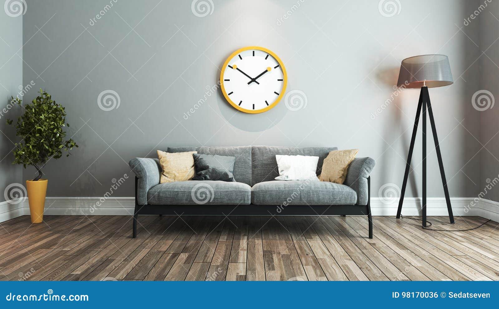 . Living Room Interior Design Idea With Big Yellow Watch Stock