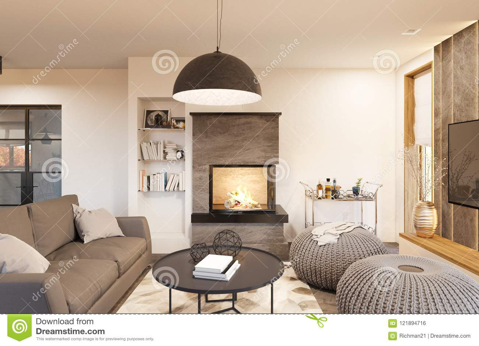 Living room interior design modern house in the scandinavian minimalist style hygge interior 3d render 3d illustration
