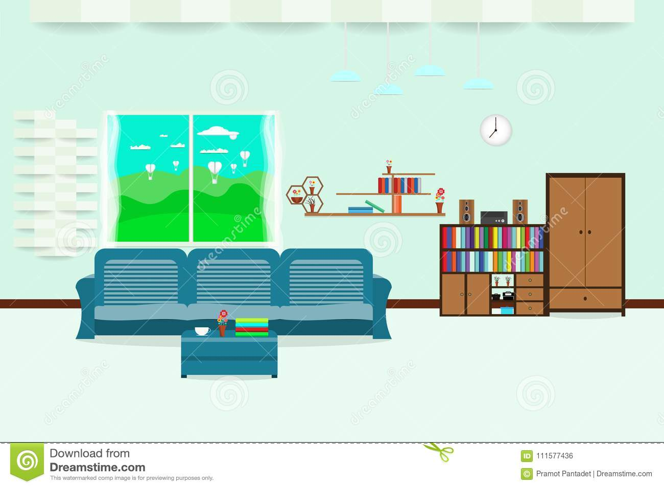 Living Room Interior Design Relax With Sofa And Bookshelf Window Sky Cloud Landscape Meadow In Wall
