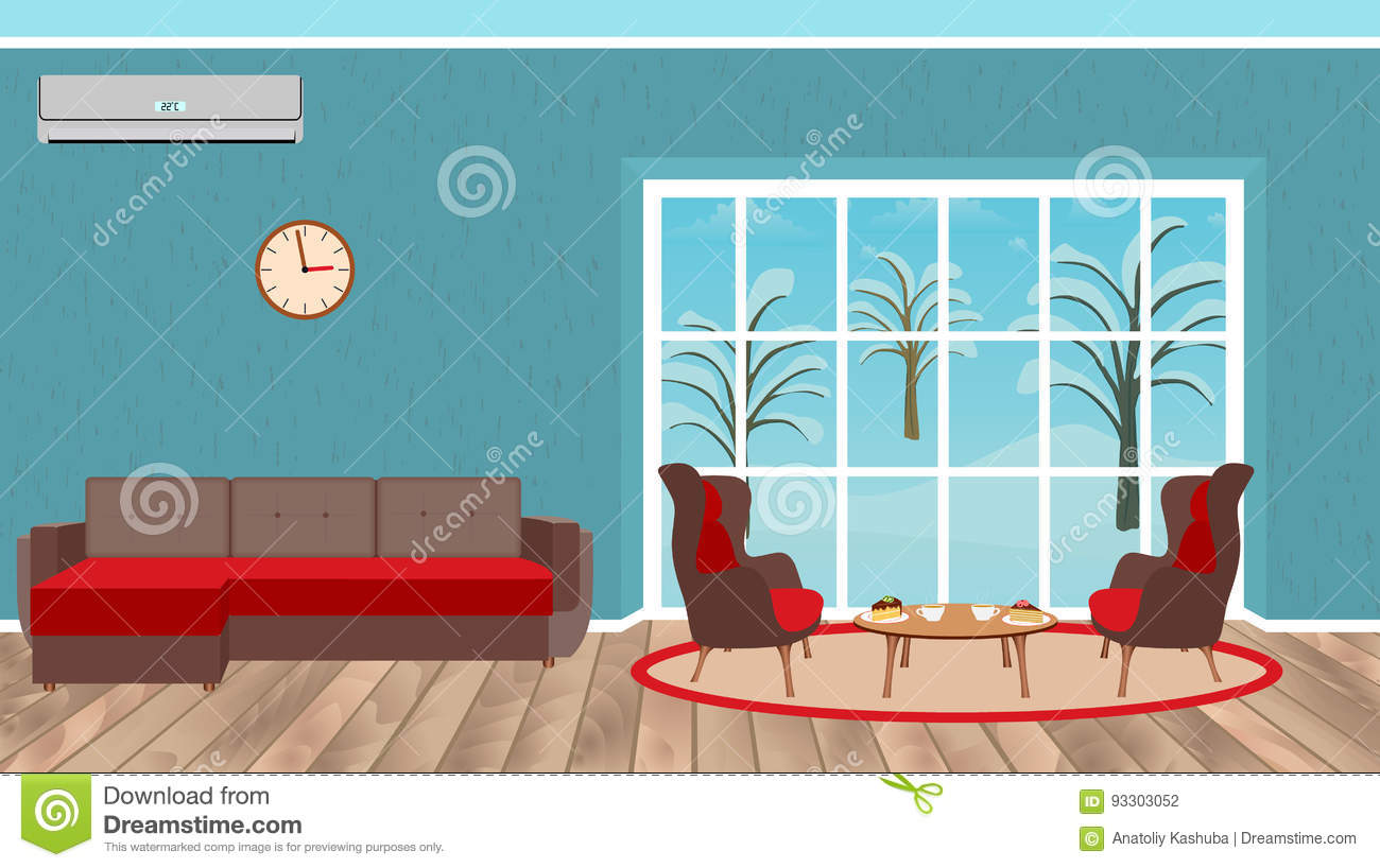 Living Room Interior Design With Sofa, Armchairs, Dessert Table, Air  Conditioner And Landscape