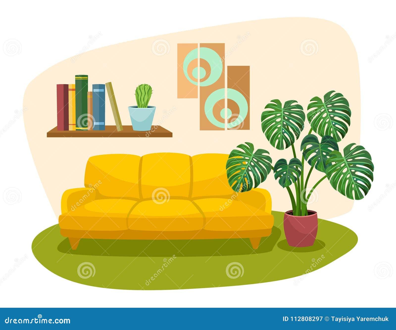 Living Room Interior Design With Sofa Bookshelf And Tropical Plant Vector Illustration