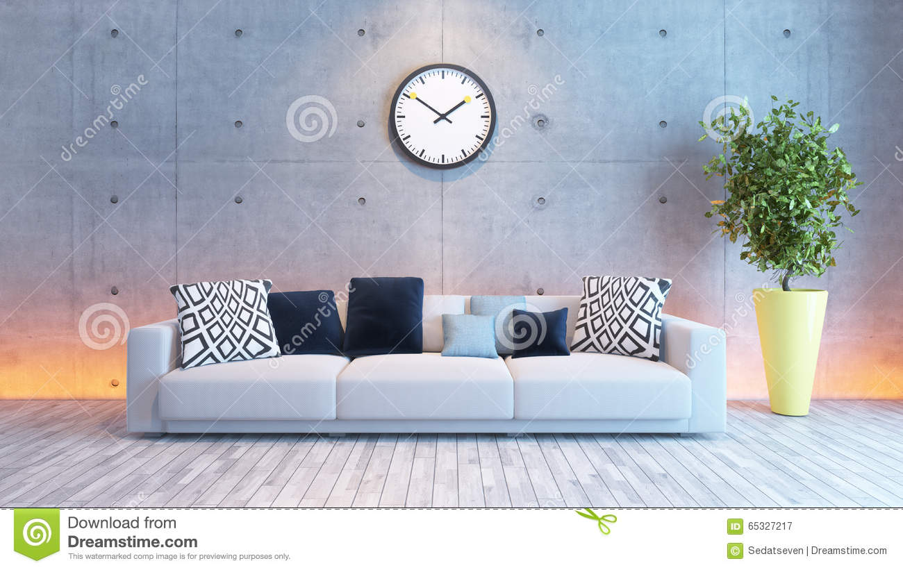 Living room interior design with under light concrete wall for Interior decoration under gst