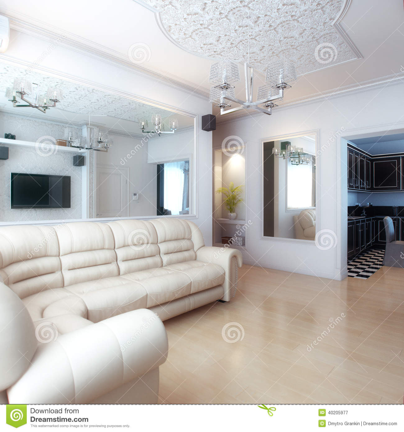 Living Room Interior Design With White Leather Sofa Stock Image ...
