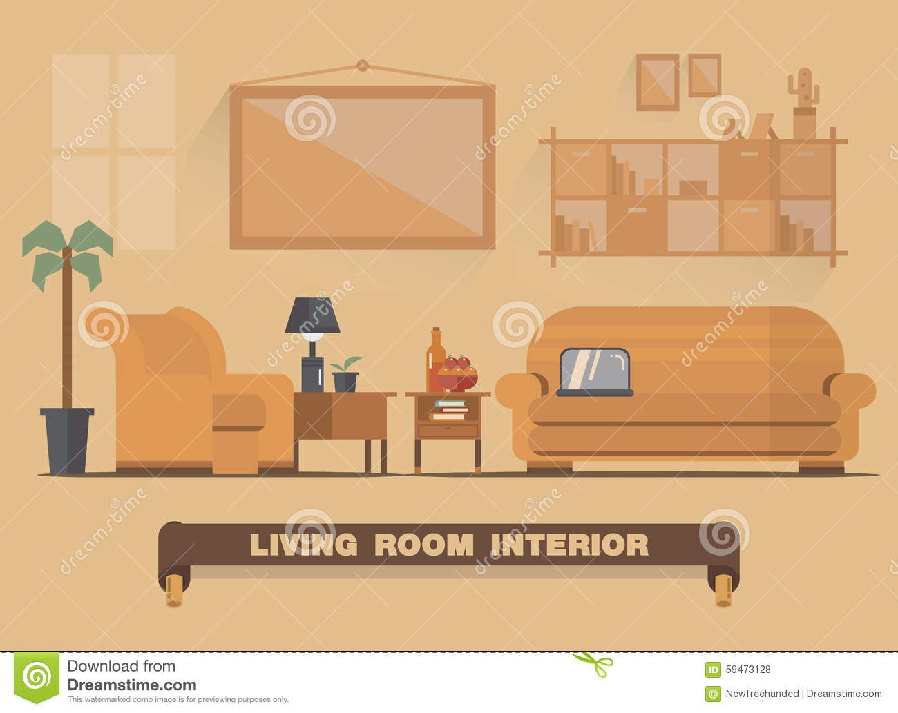 Living Room Interior Element Flat Design Earth Tone