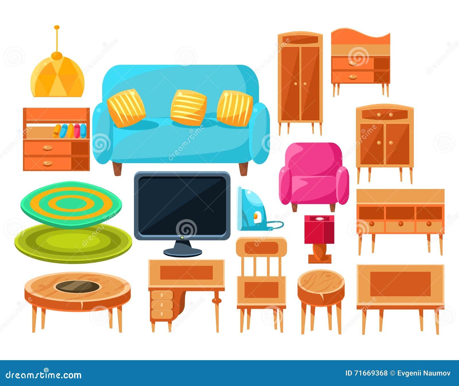 Living Room Interior Elements Set Stock Vector