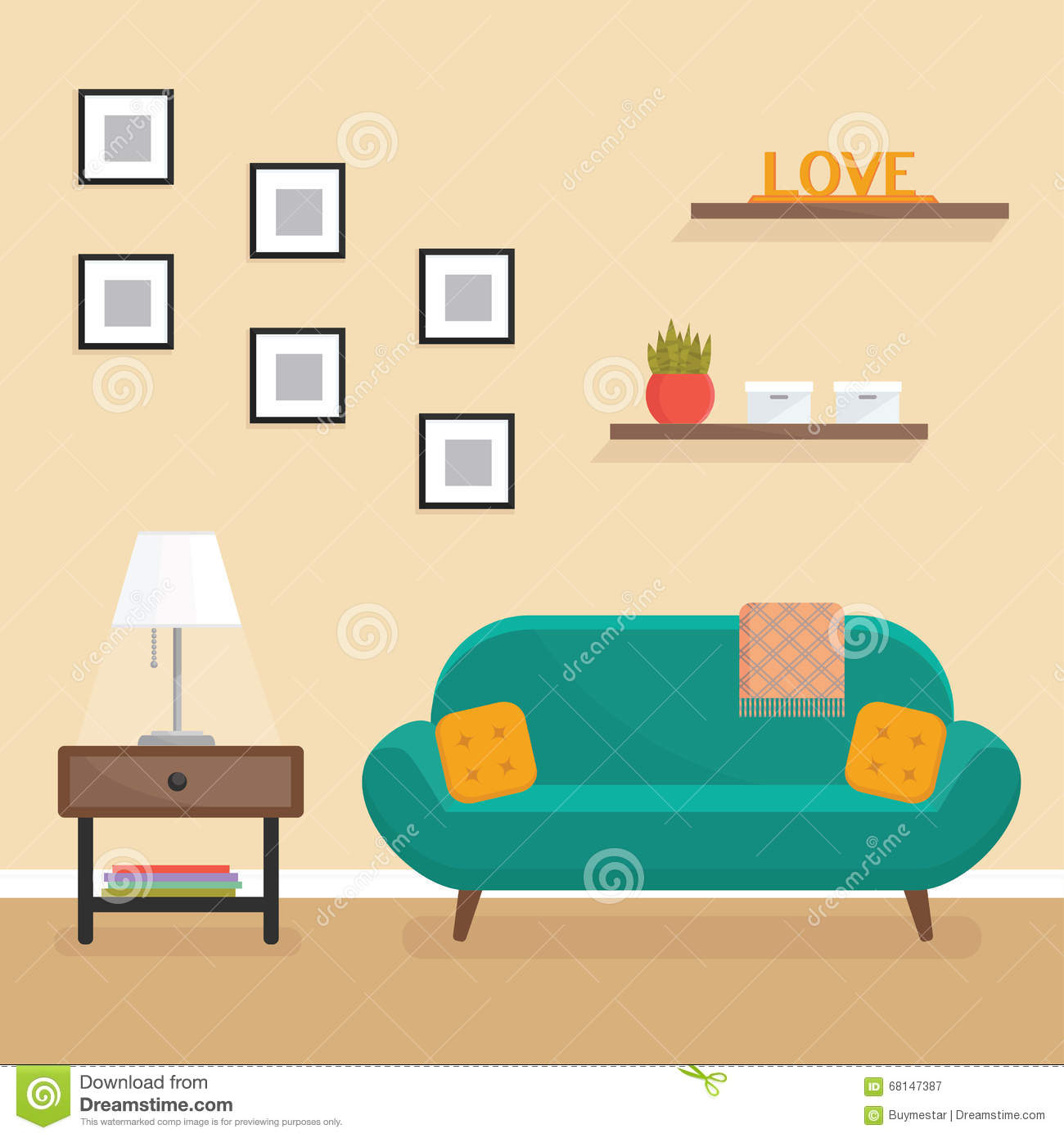 Interior Of Modern Living Room In Flat Design Stock Vector: Flat Style Vector Illustration