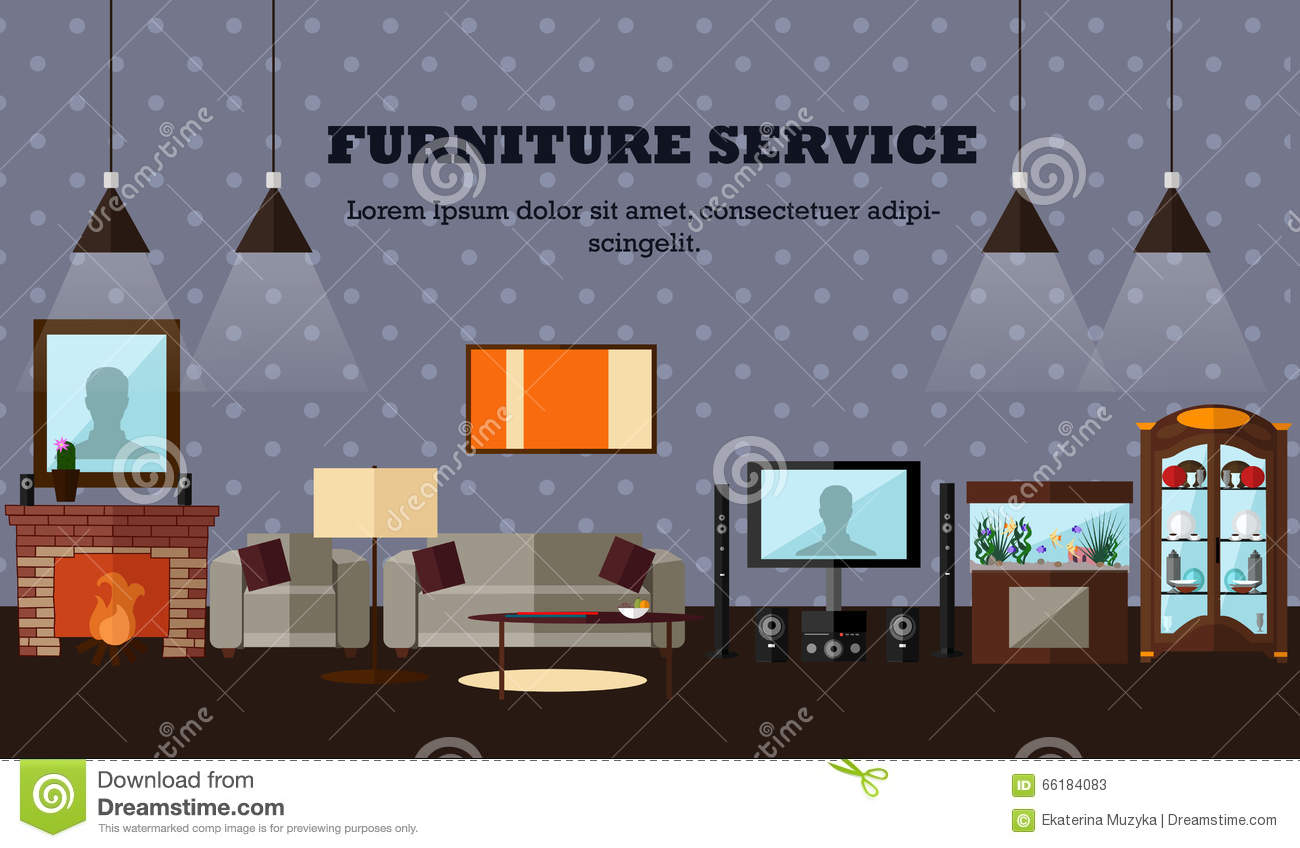 Living Room Interior Flat Style Vector Illustration